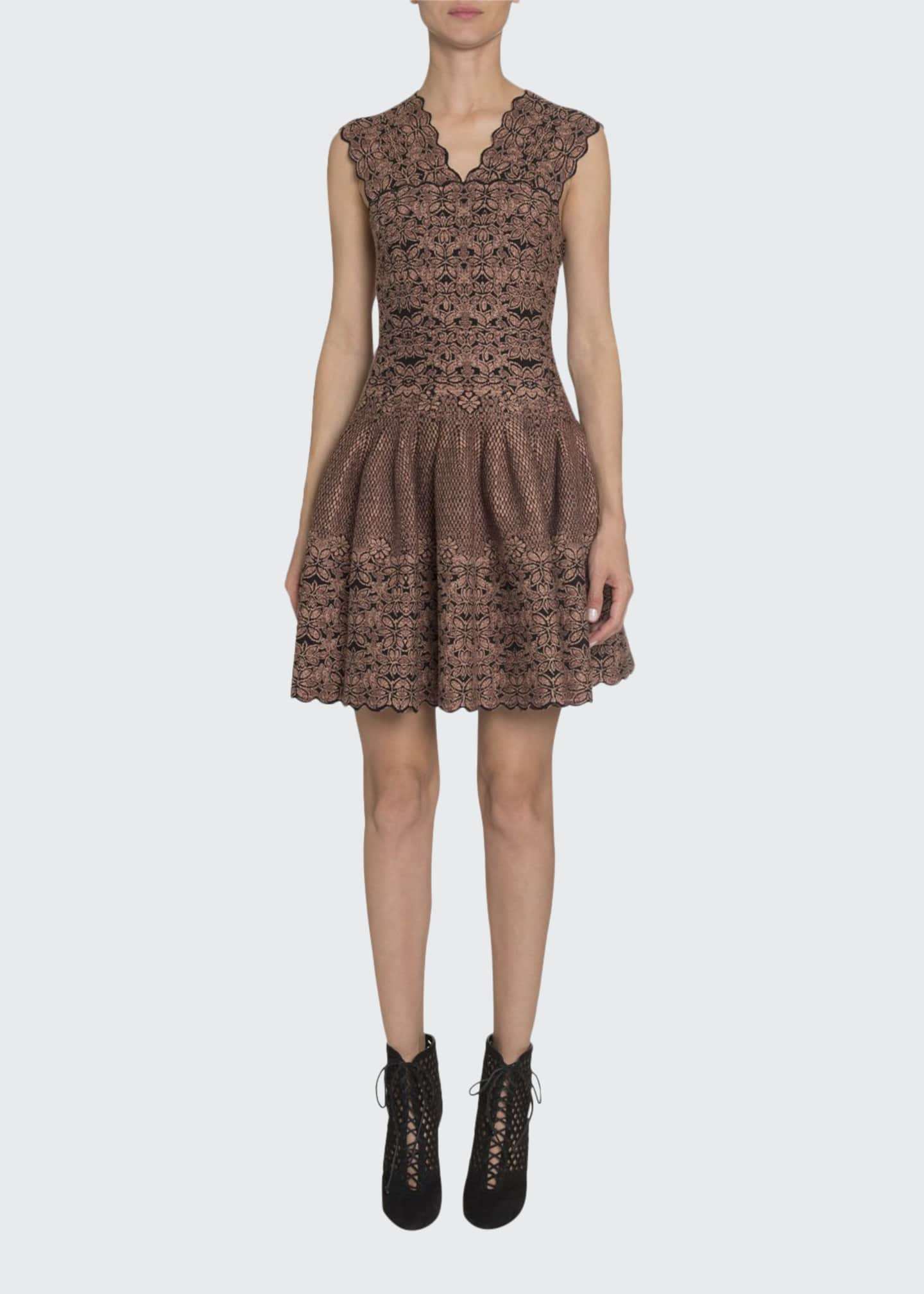 ALAIA Floral Velvet-Burnout V-Neck Fit-&-Flare Dress