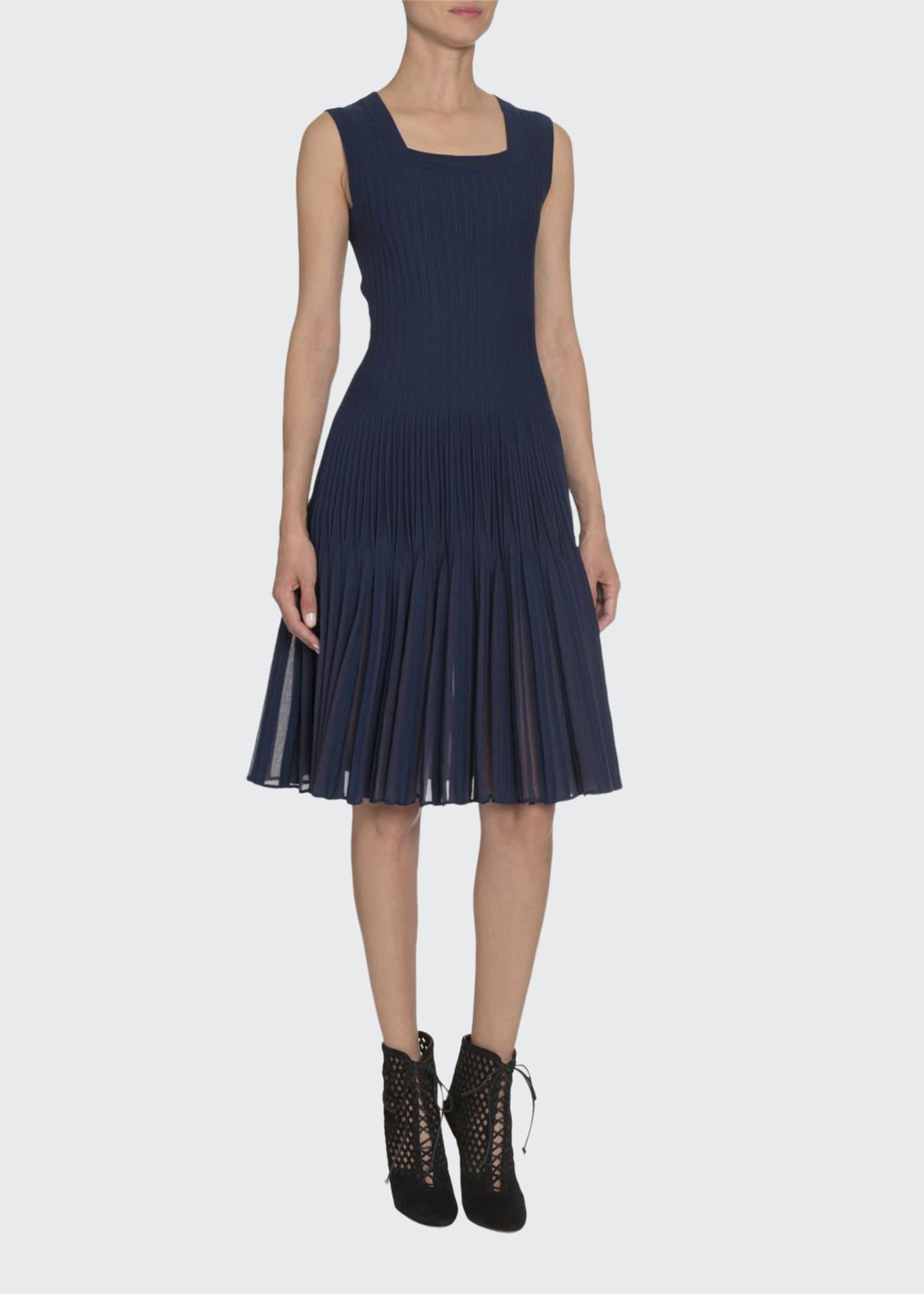 ALAIA Square-Neck Pleated Bottom Dress