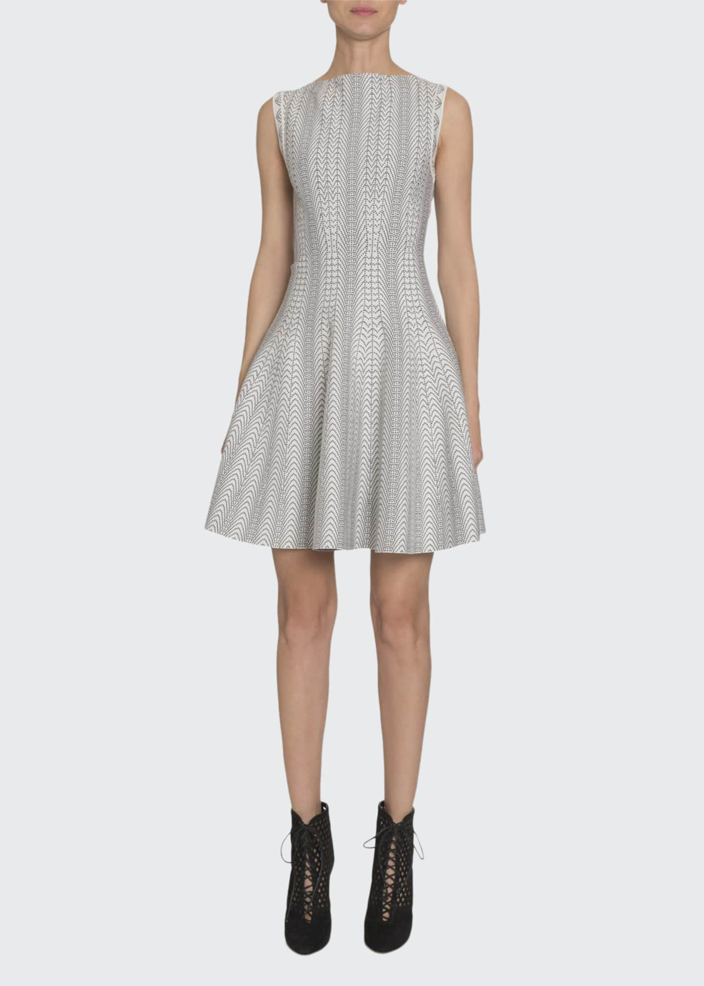 Image 1 of 3: Dot-Print Boat-Neck Sleeveless Fit-&-Flare Dress