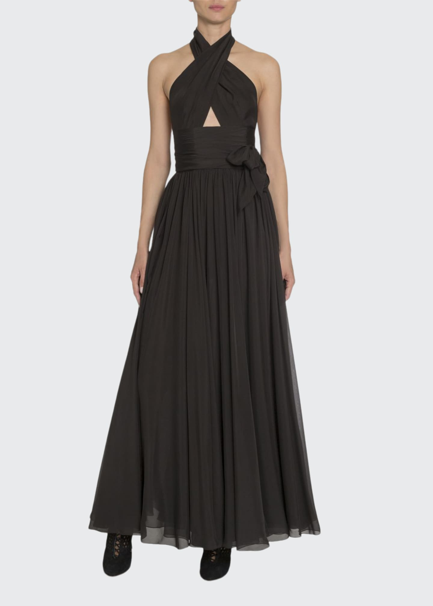 Image 1 of 3: Silk Taffeta Wrapped Halter Gown
