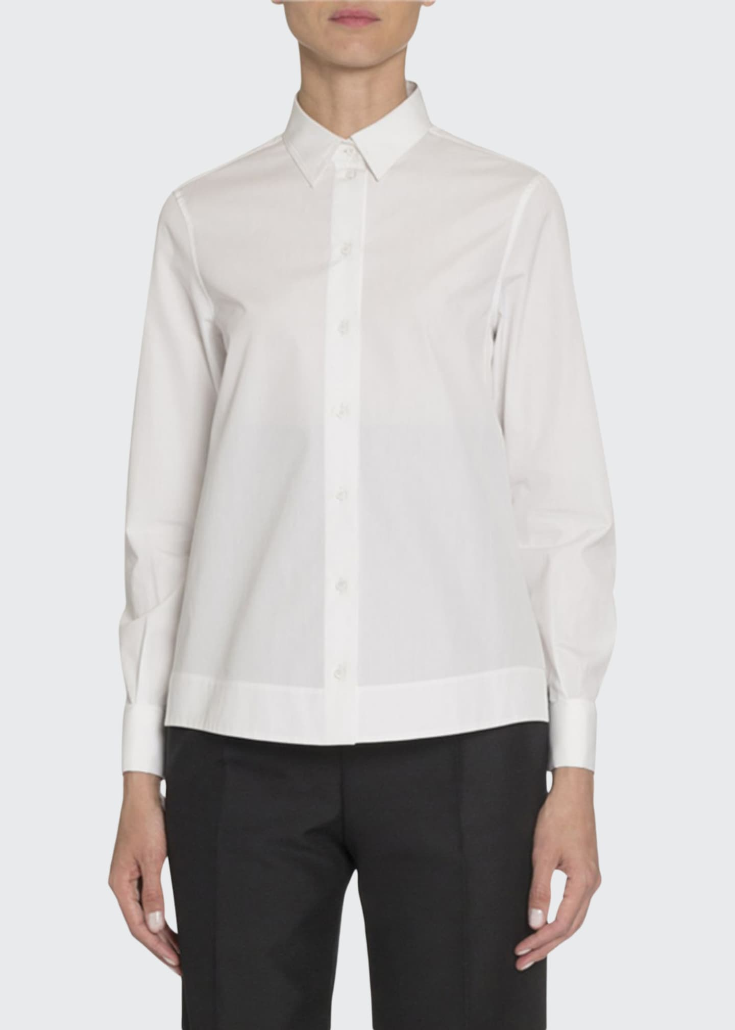 ALAIA Poplin Long-Sleeve Blouse