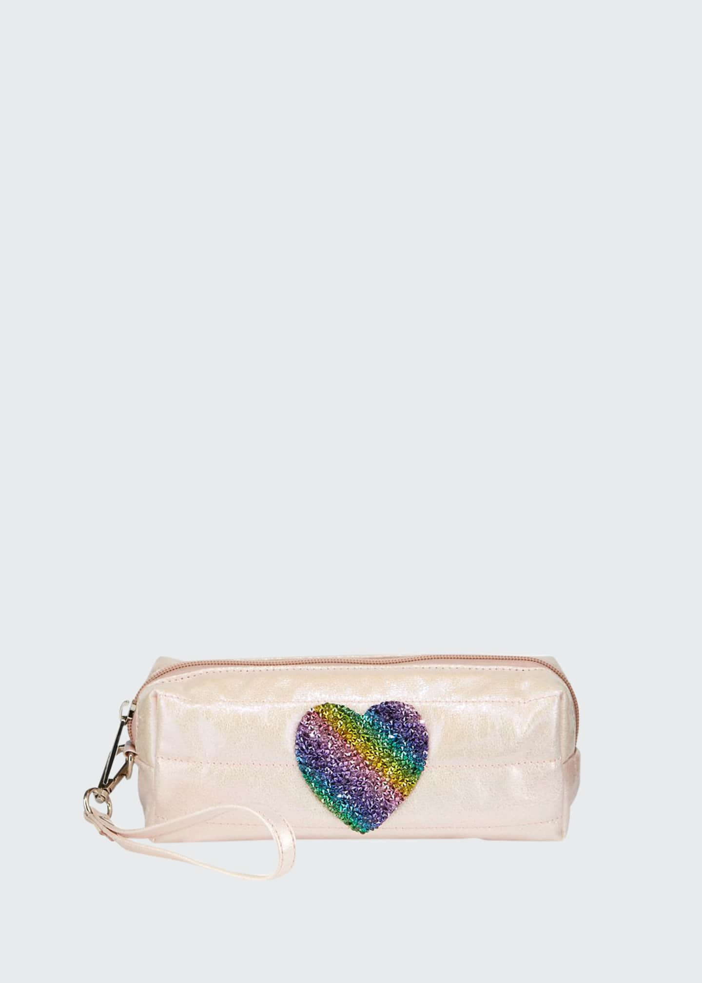 Bari Lynn Puffy Pencil Case with Rainbow Heart
