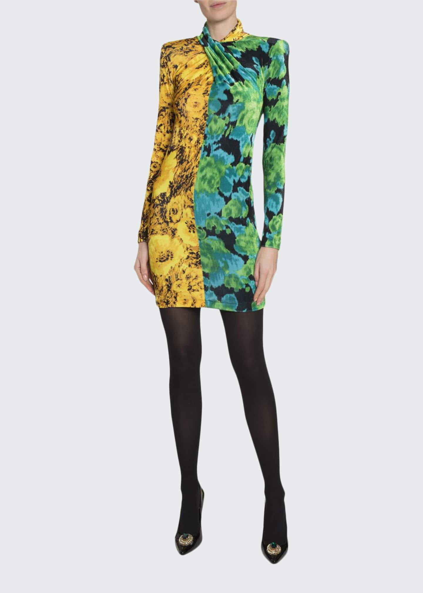 Image 1 of 2: High-Neck Two-Tone Printed Mini Dress
