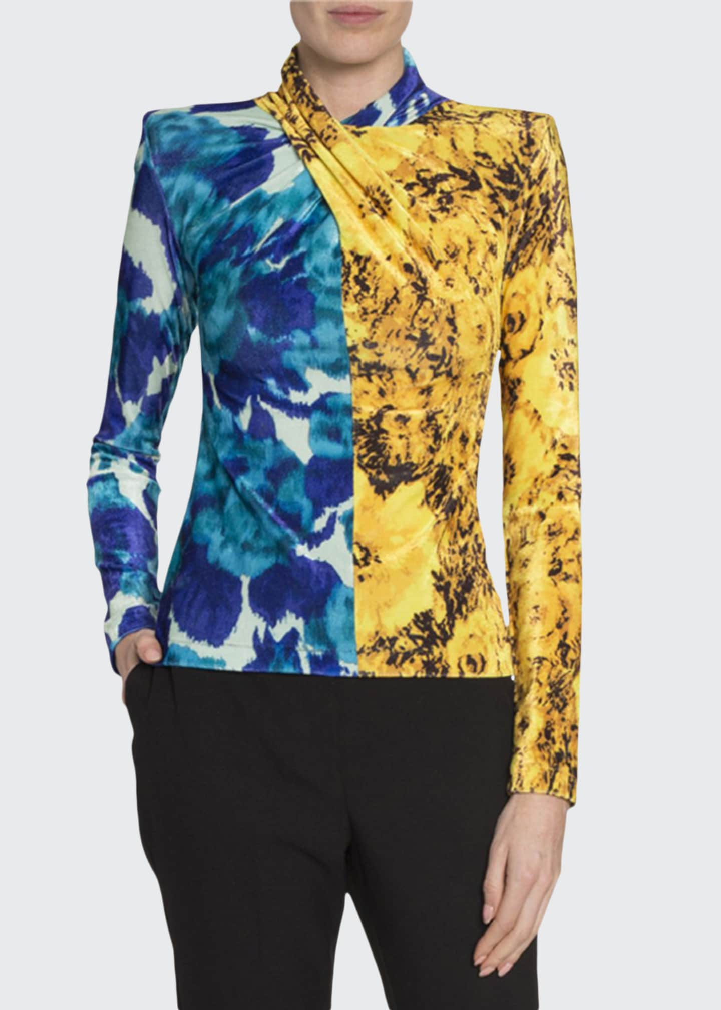 Image 1 of 2: Twisted Mixed-Print Velour Top