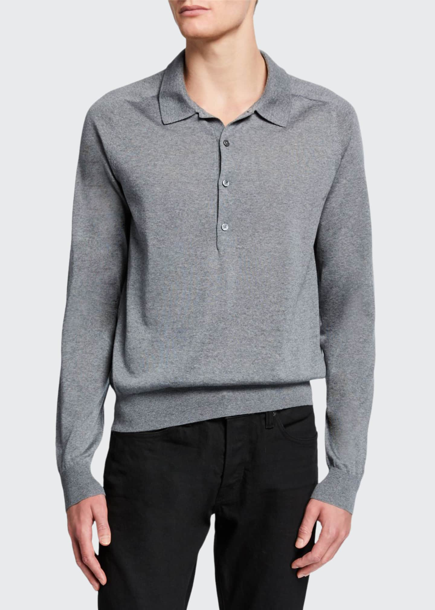 Image 1 of 2: Men's Dylan Wool Long-Sleeve Polo Shirt