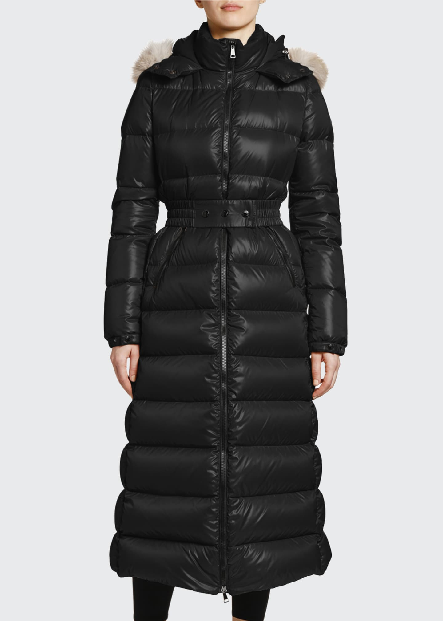 Image 1 of 4: Hudson Long Puffer Coat w/ Fur Hood