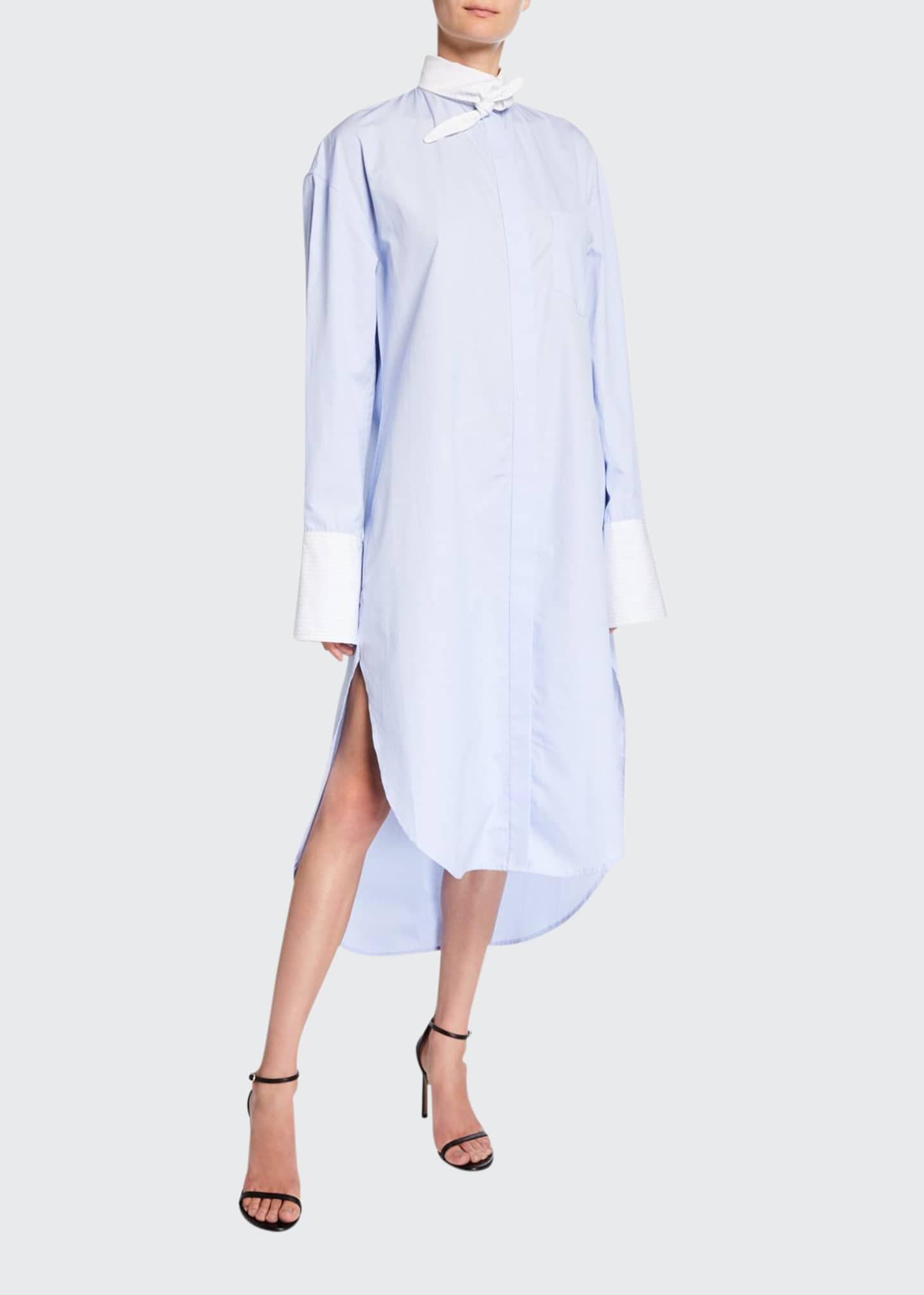 Deveaux New York Button-Down Tie-Collar Shirtdress with Mini