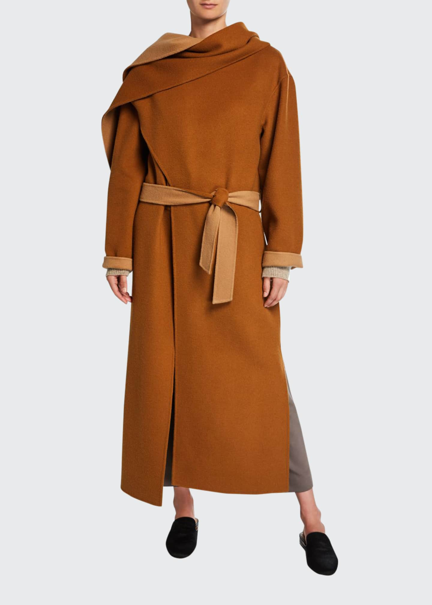 Image 1 of 2: Double-Faced Belted Wool Coat