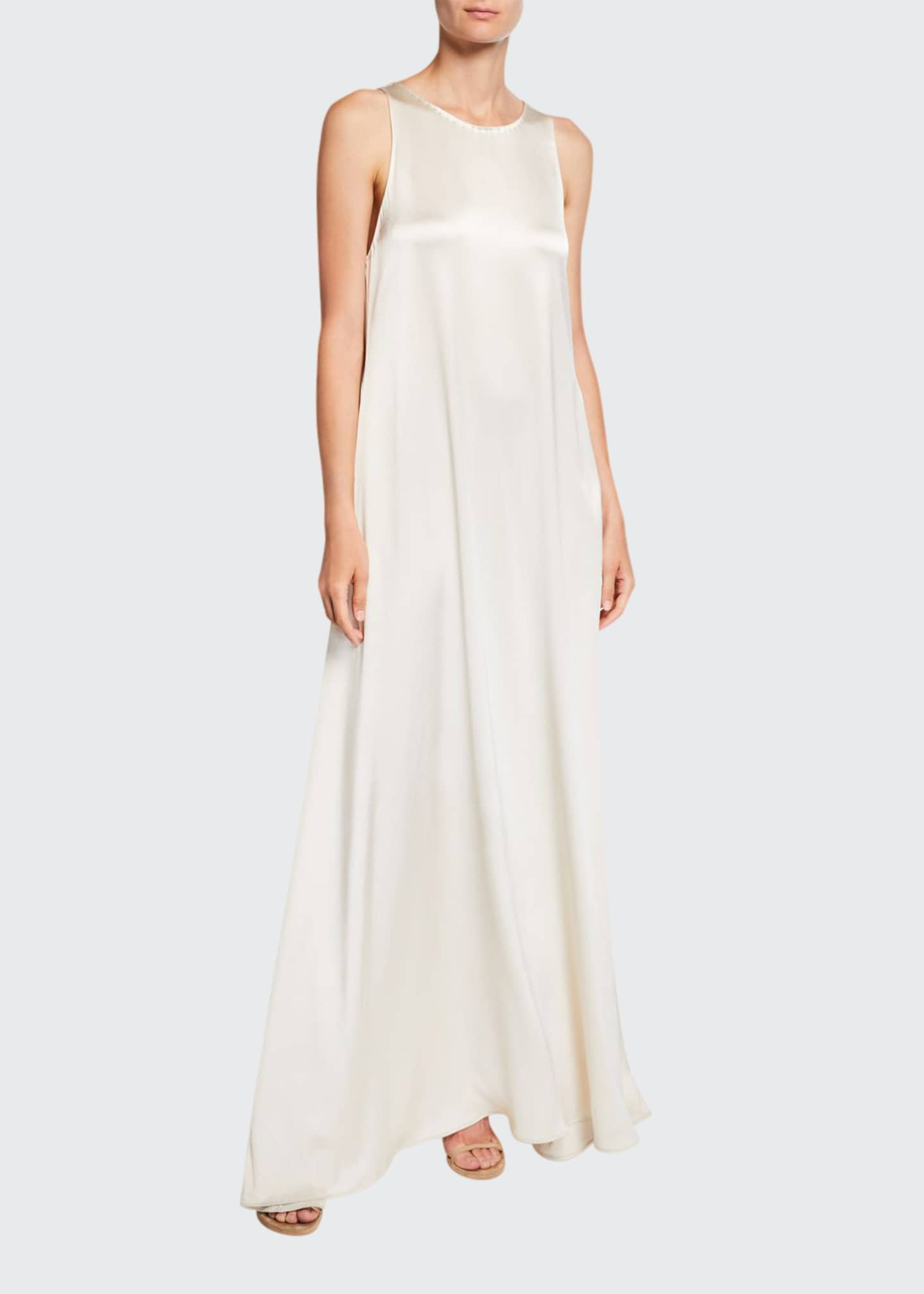 Deveaux New York Jewel-Neck Sleeveless Long Satin Gown