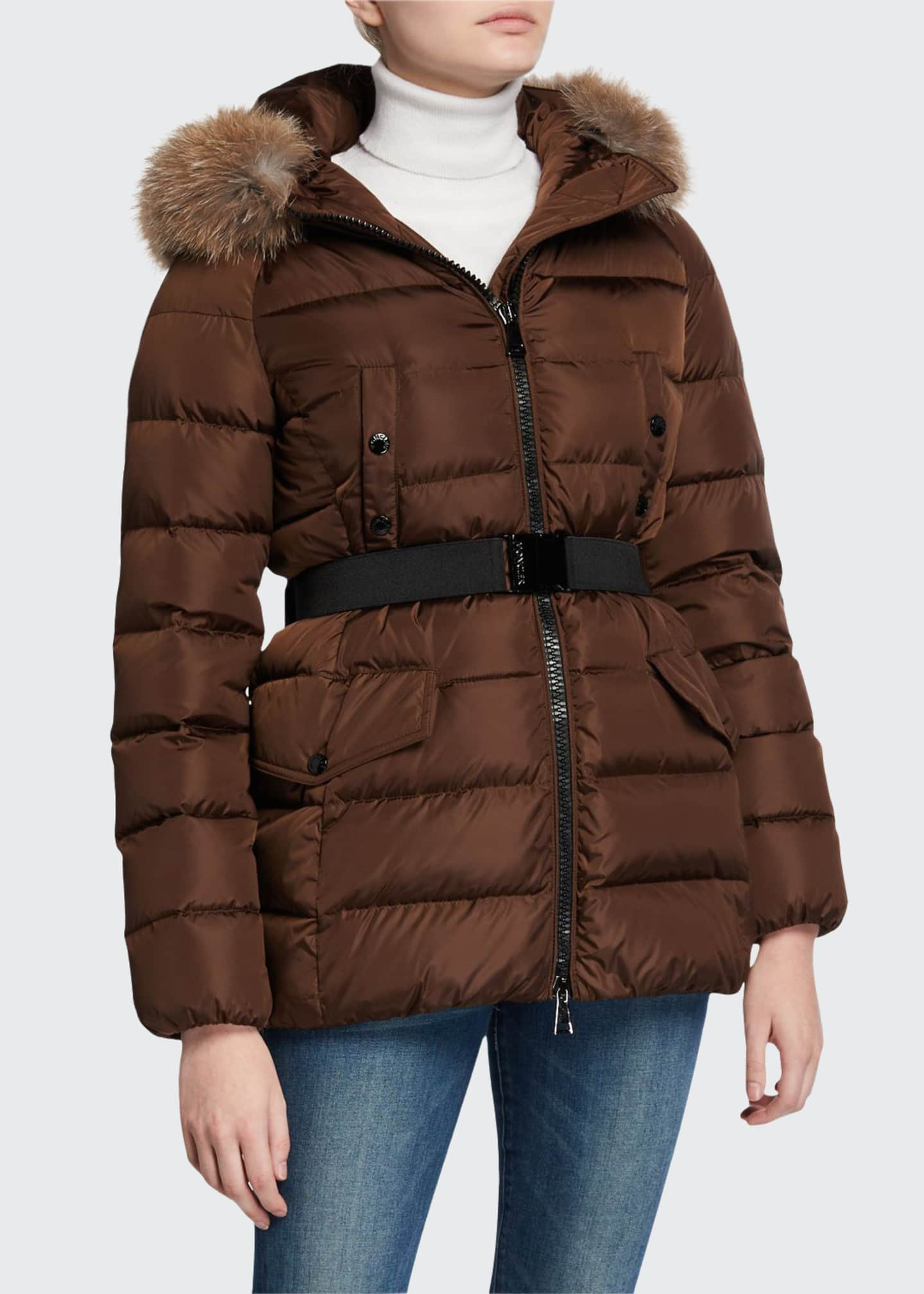 Moncler Clion Belted Puffer Jacket w/ Fur Hood