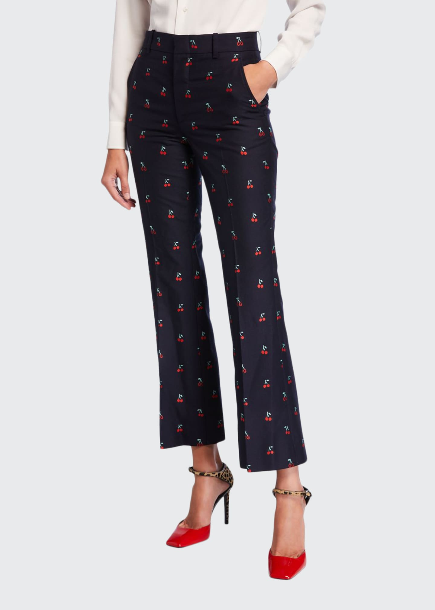 Gucci GG Cherry Boot-Cut Cotton/Wool Ankle Pants