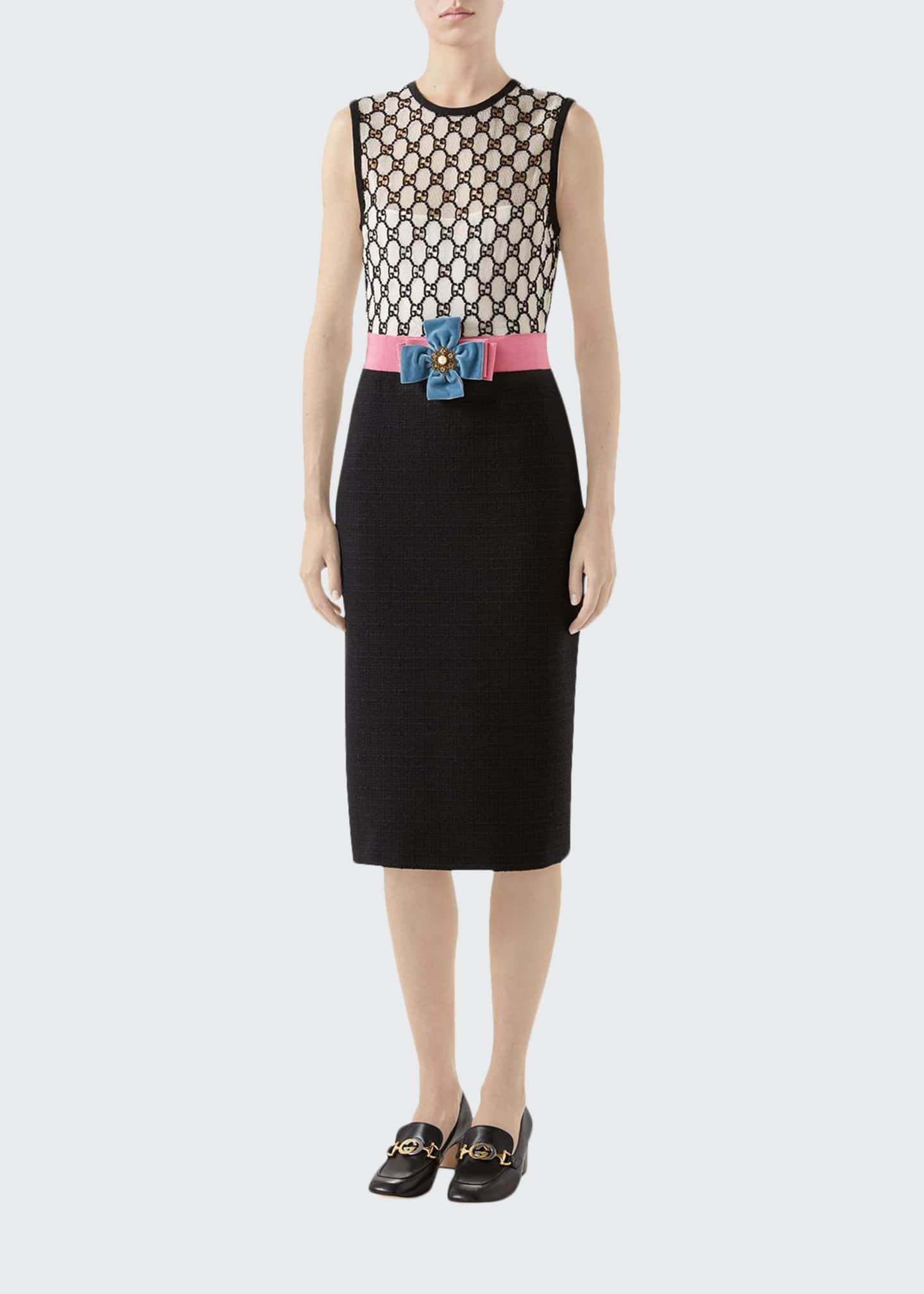 Gucci GG Macrame Tie-Waist Sheath Dress