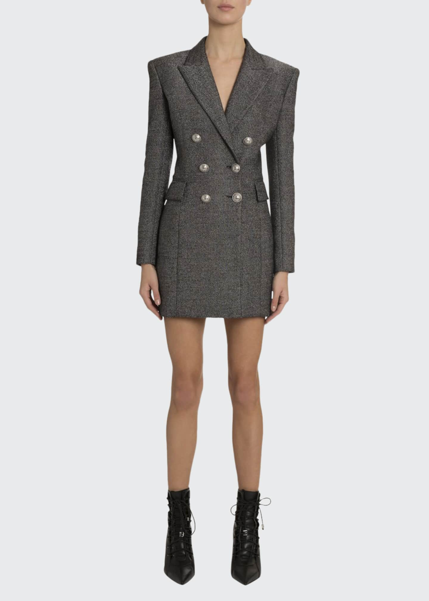 Balmain Double-Breasted Wool Blazer Dress