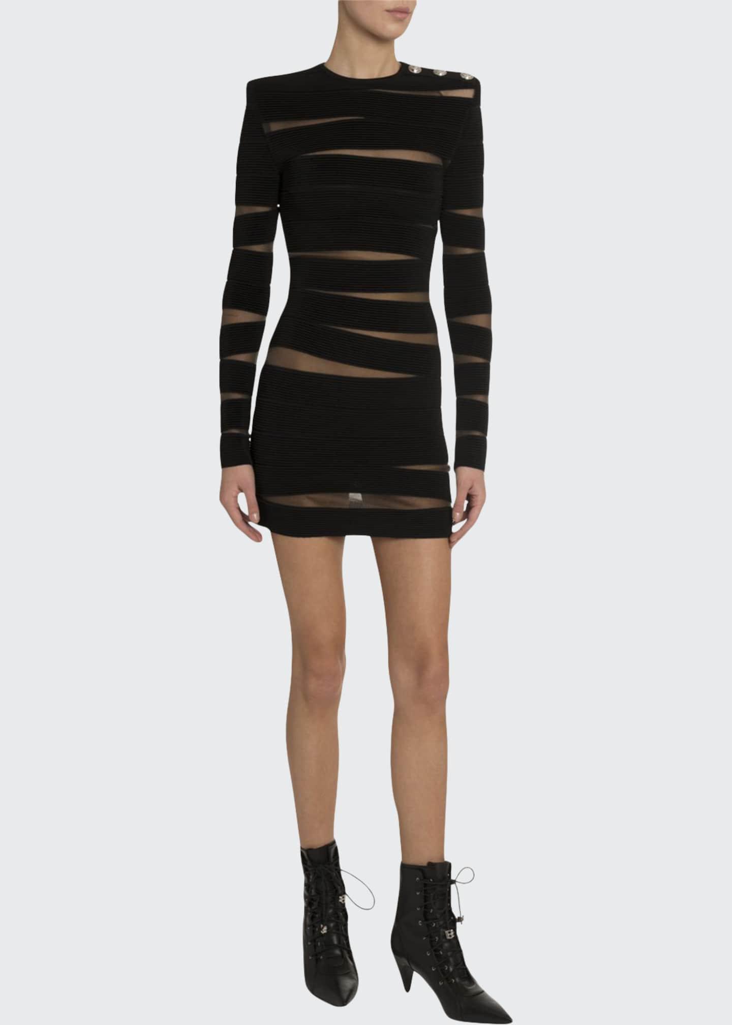 Balmain Long-Sleeve Paneled Sheer-Mesh Dress
