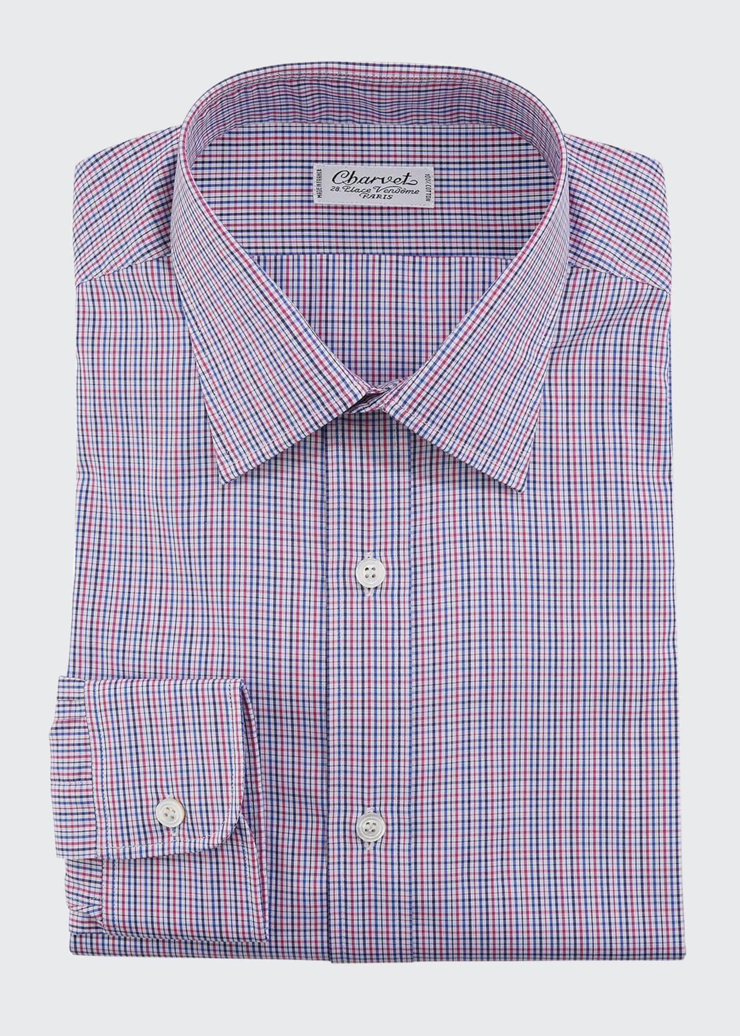 Charvet Men's Two-Tone Checker Cotton Dress Shirt