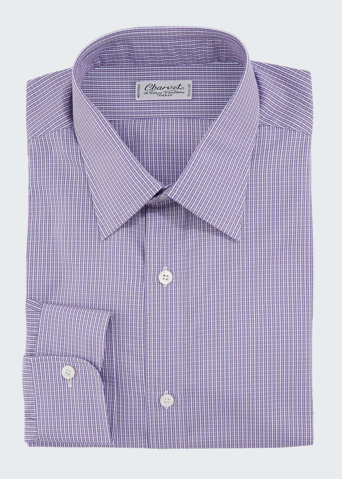 Charvet Men's Checker Cotton Dress Shirt