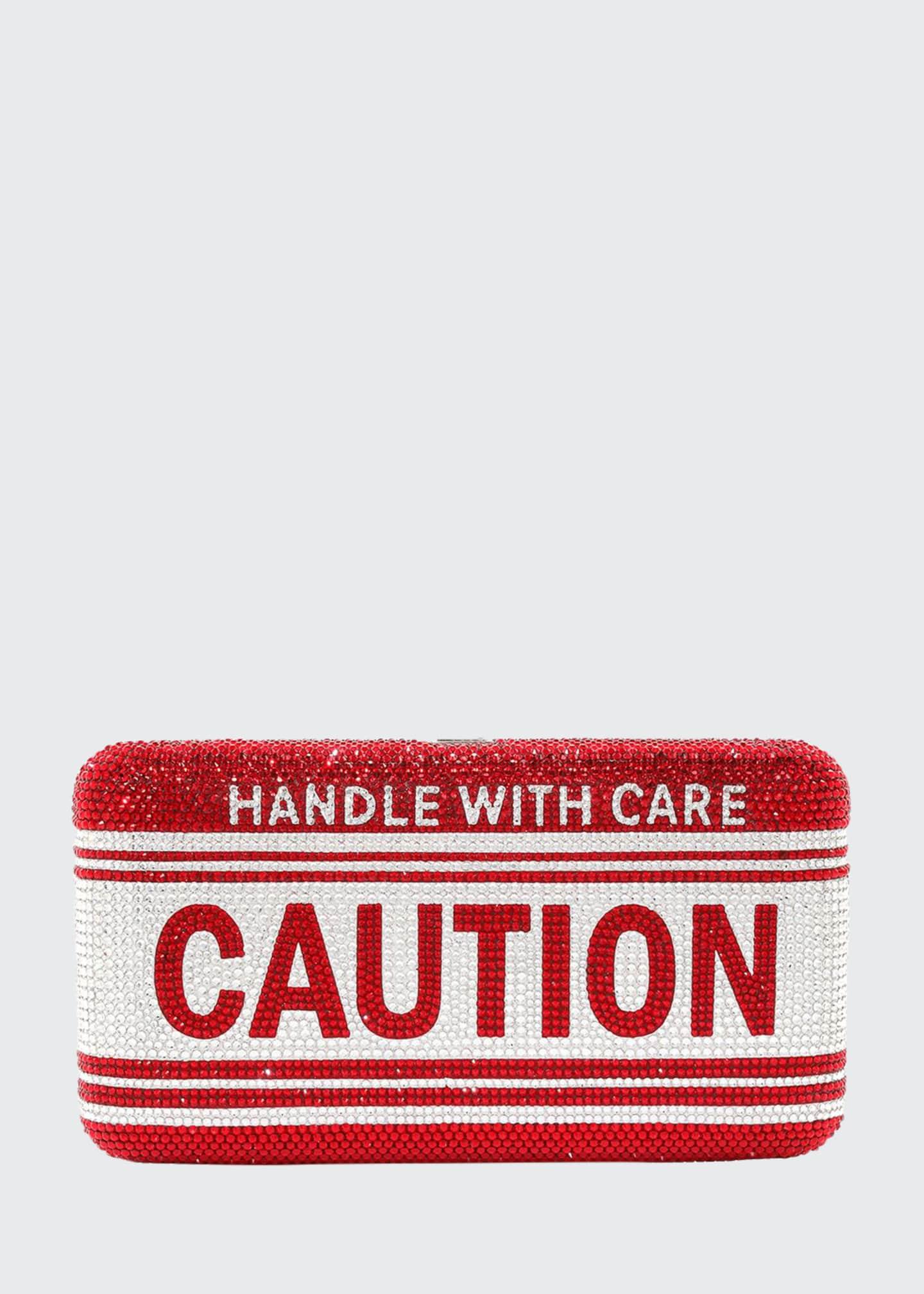 Judith Leiber Couture Crystal Fragile Caution Smooth Rectangular