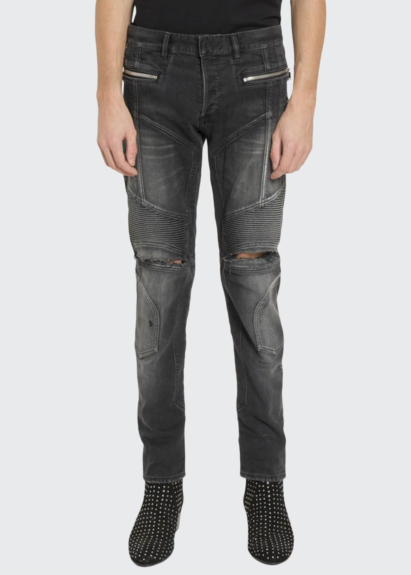 Balmain Men's Slim Ribbed Zip-Pocket Jeans