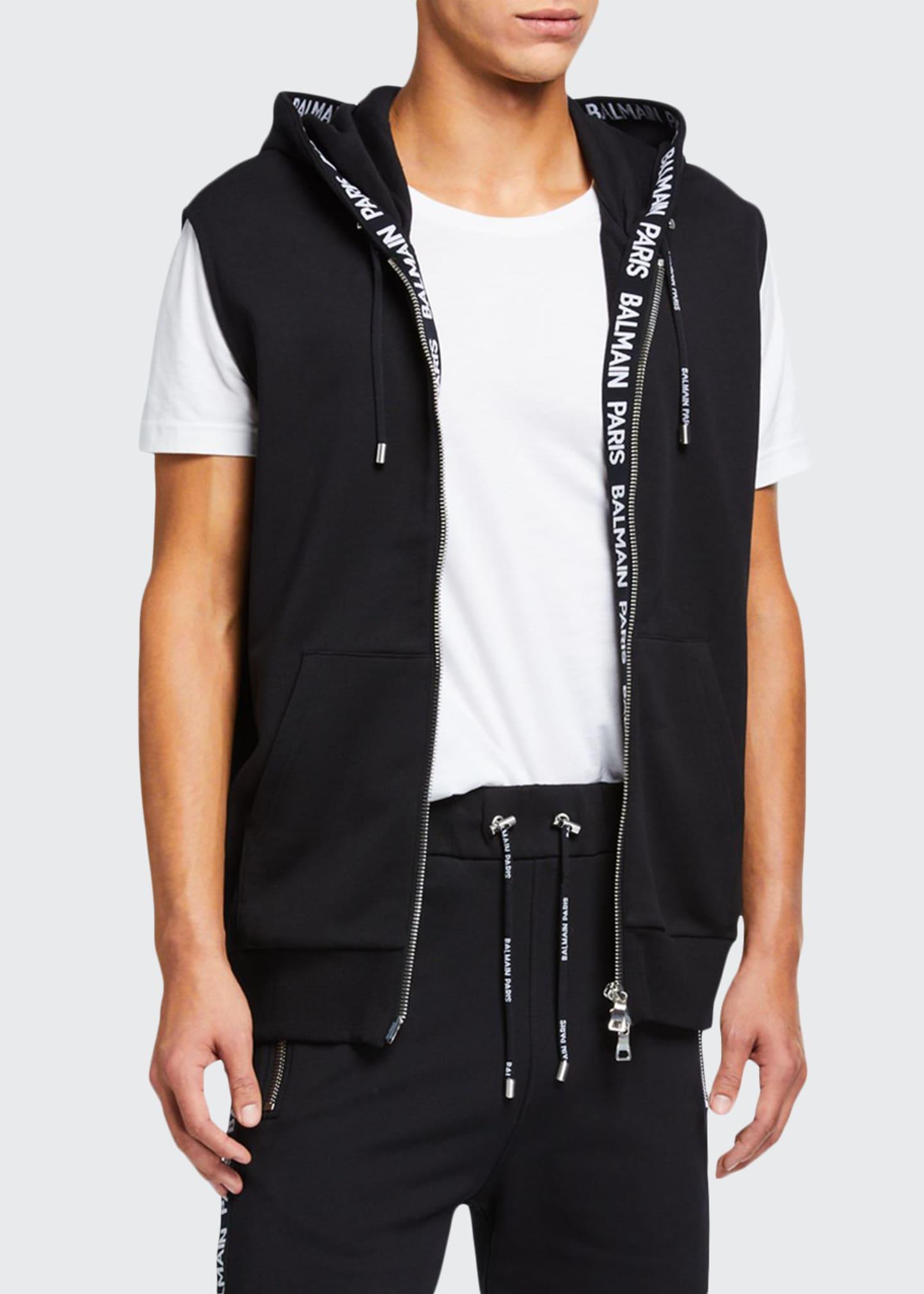 Balmain Men's Zip-Front Hoodie Vest