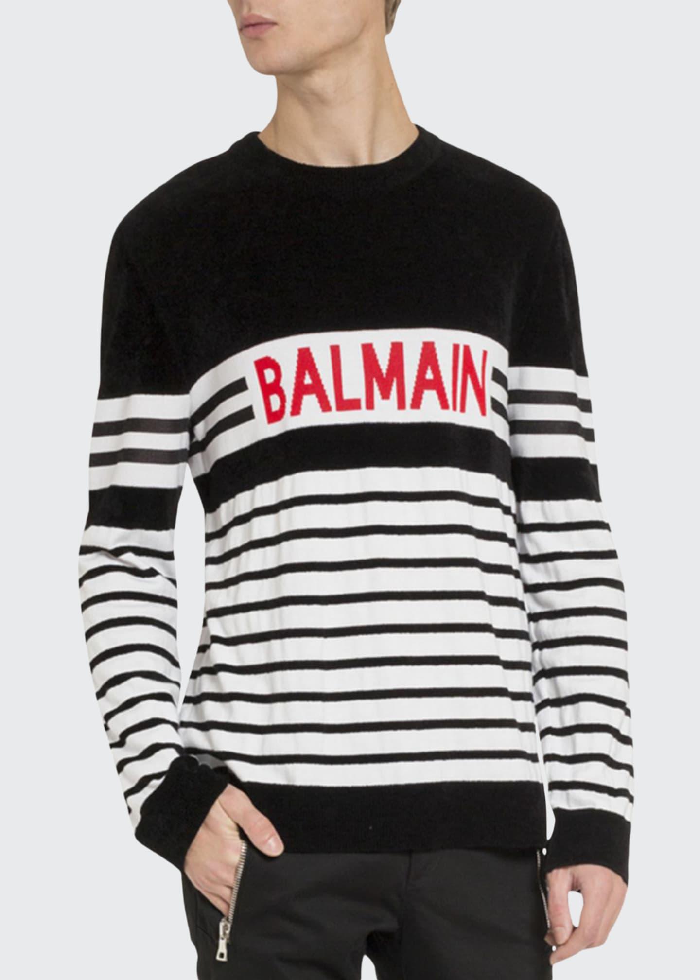 Balmain Men's Logo Stripe Sweater