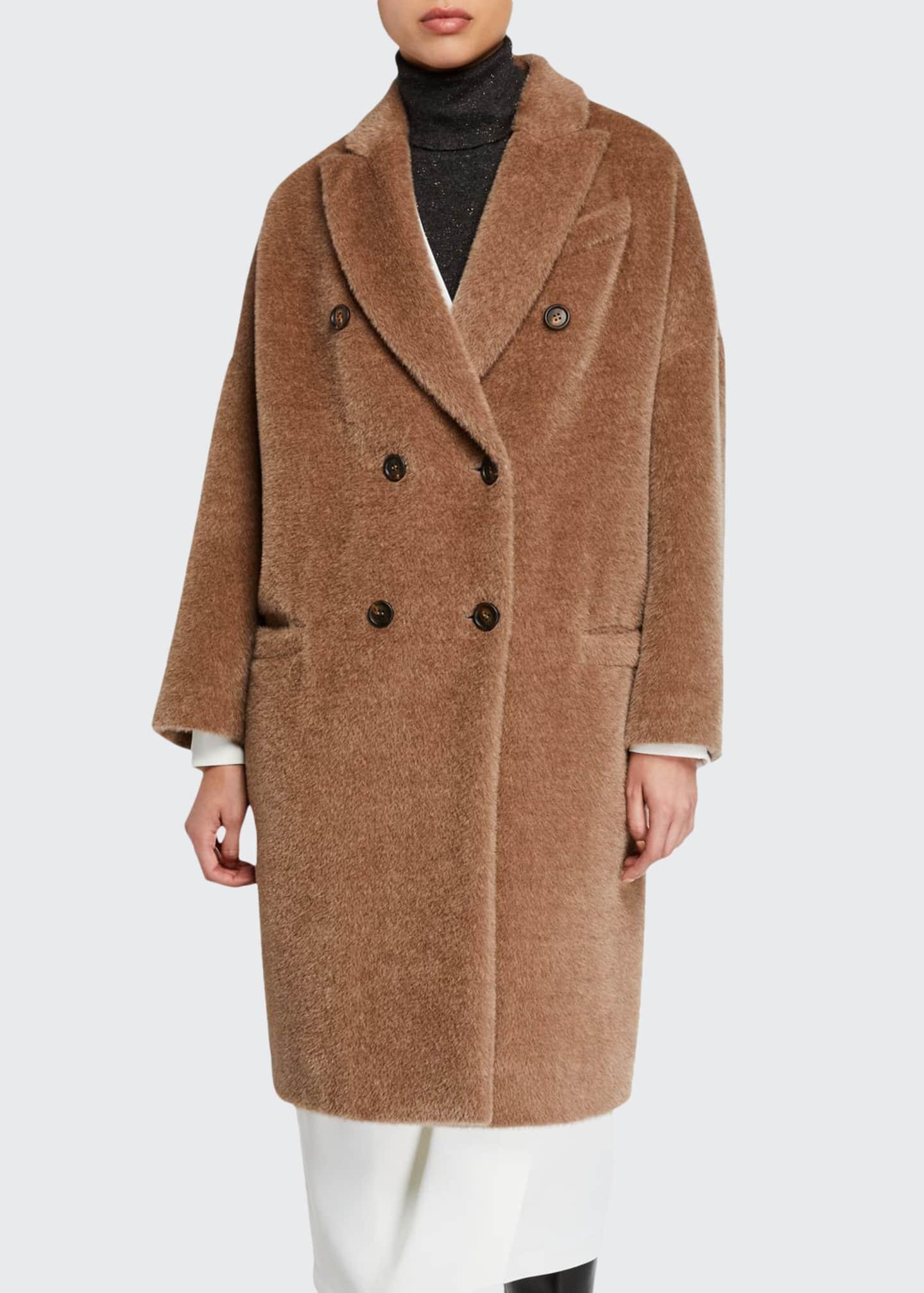 Brunello Cucinelli Alpaca-Wool Double-Breasted Melton Coat