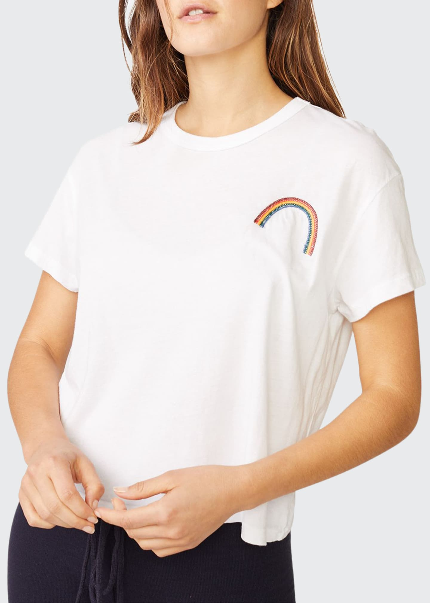 Monrow Vintage Crewneck Tee with Rainbow Embroidery