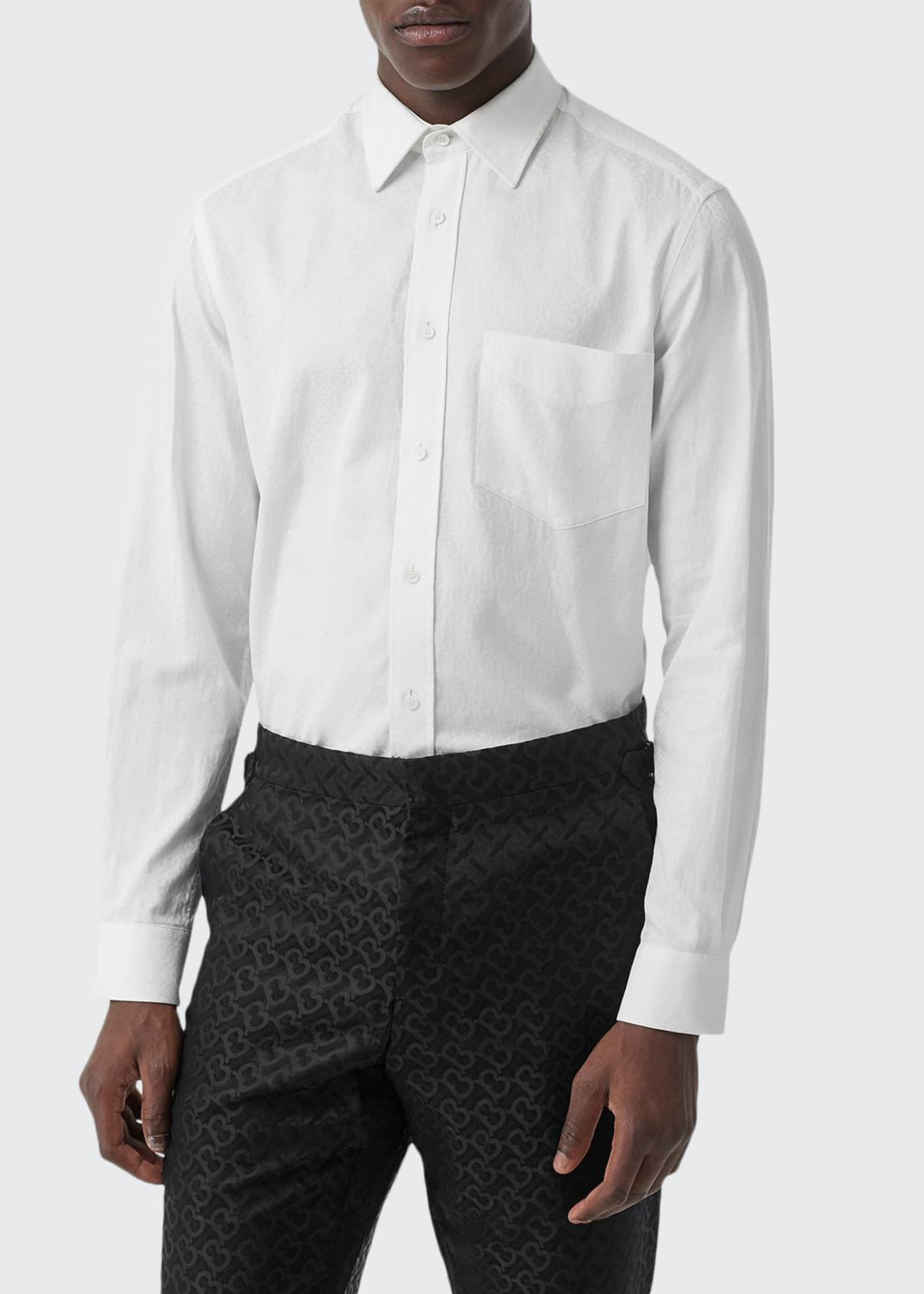 Burberry Men's Textured Solid Sport Shirt