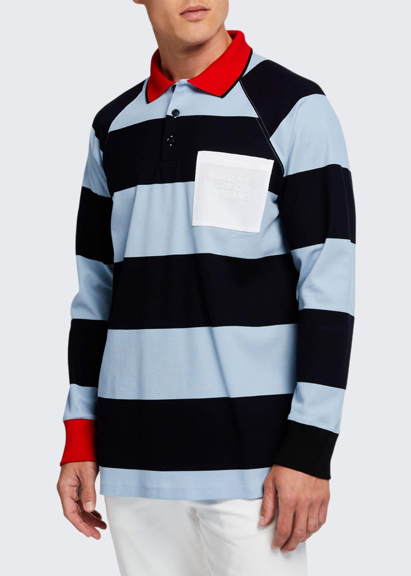 Burberry Men's Barford Striped Long-Sleeve Rugby Shirt