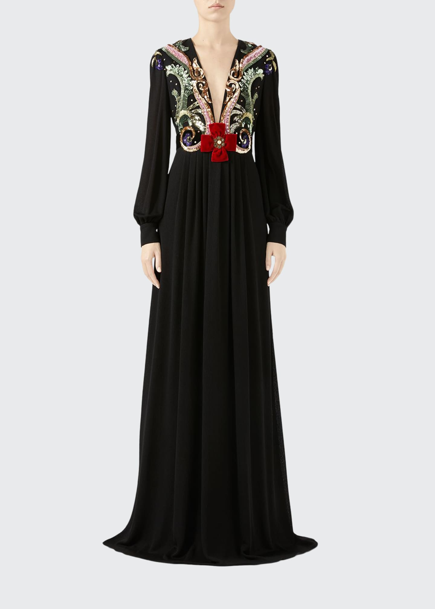 Gucci Long-Sleeve Embroidered Crepe Gown
