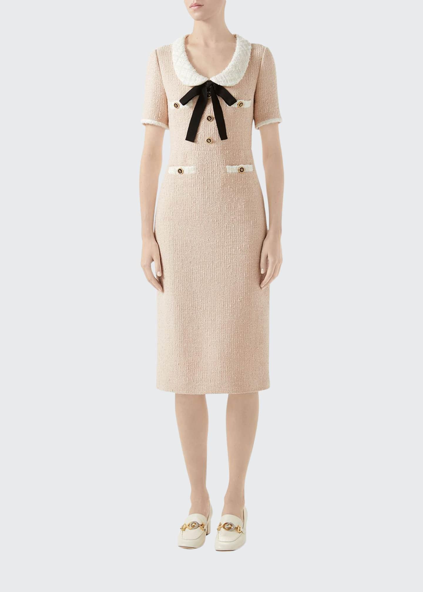 Gucci Bowed-Neck Tweed Midi Dress