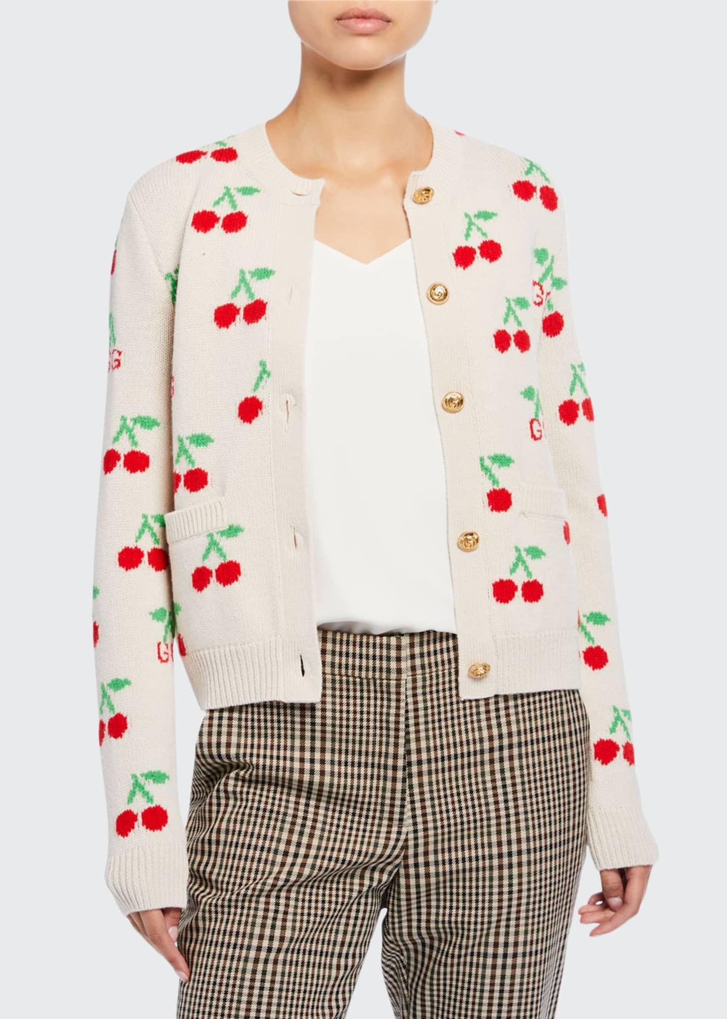 Gucci Cherry Jacquard Wool Cardigan