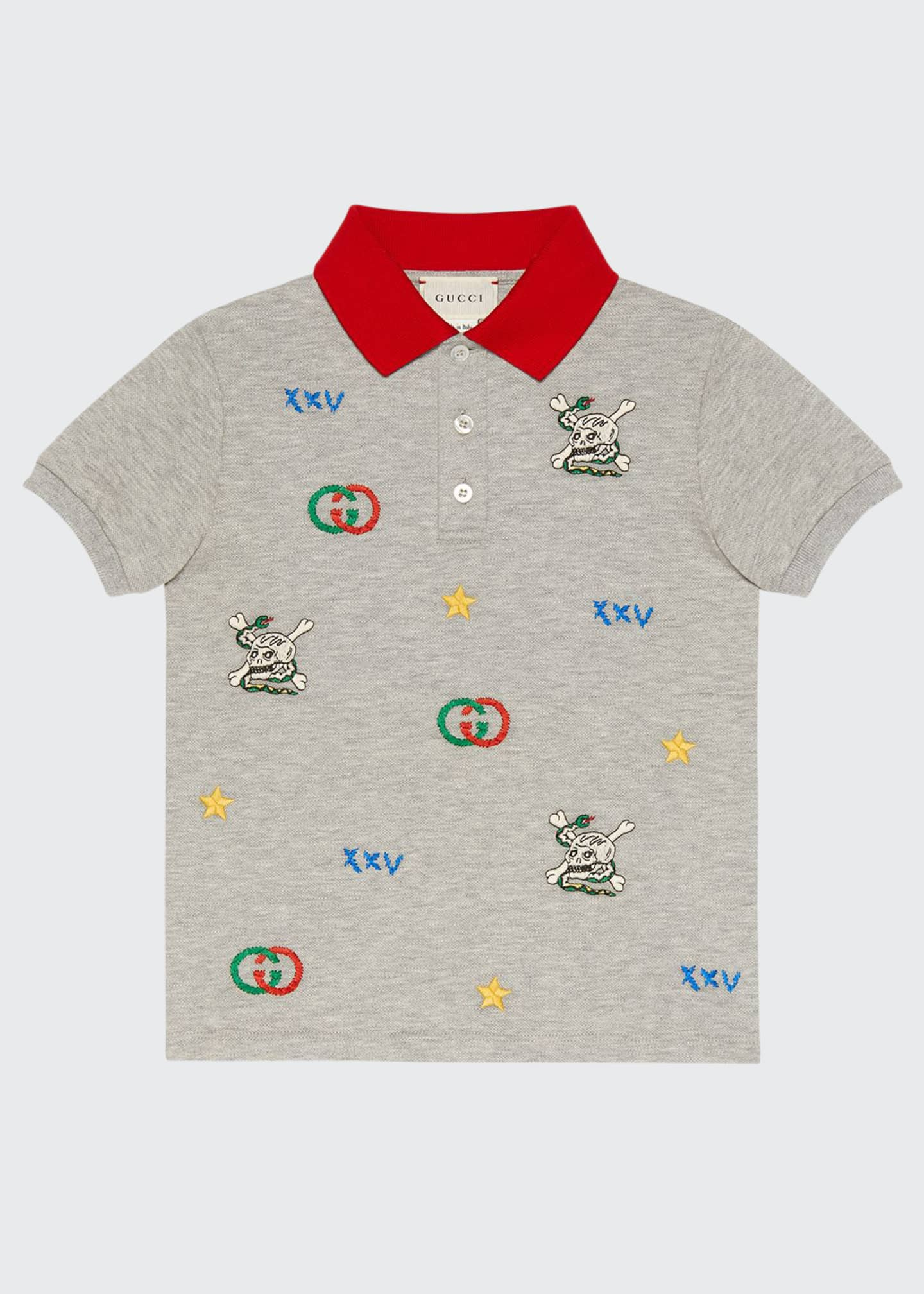 Gucci Heathered Short-Sleeve Polo Shirt w/ Logo Embroidery,