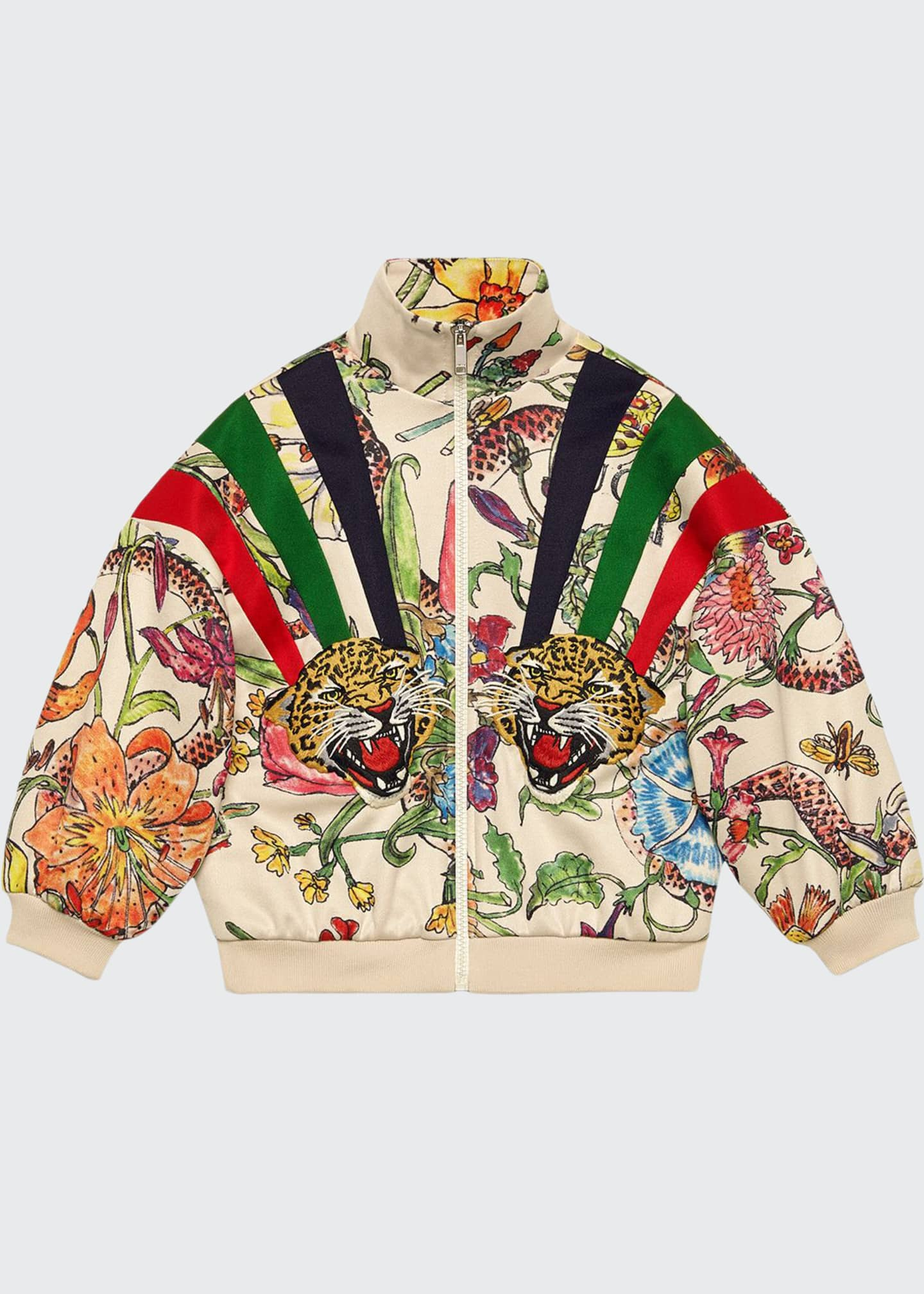 Gucci Floral Zip-Up Sweatshirt w/ Stripes & Tiger