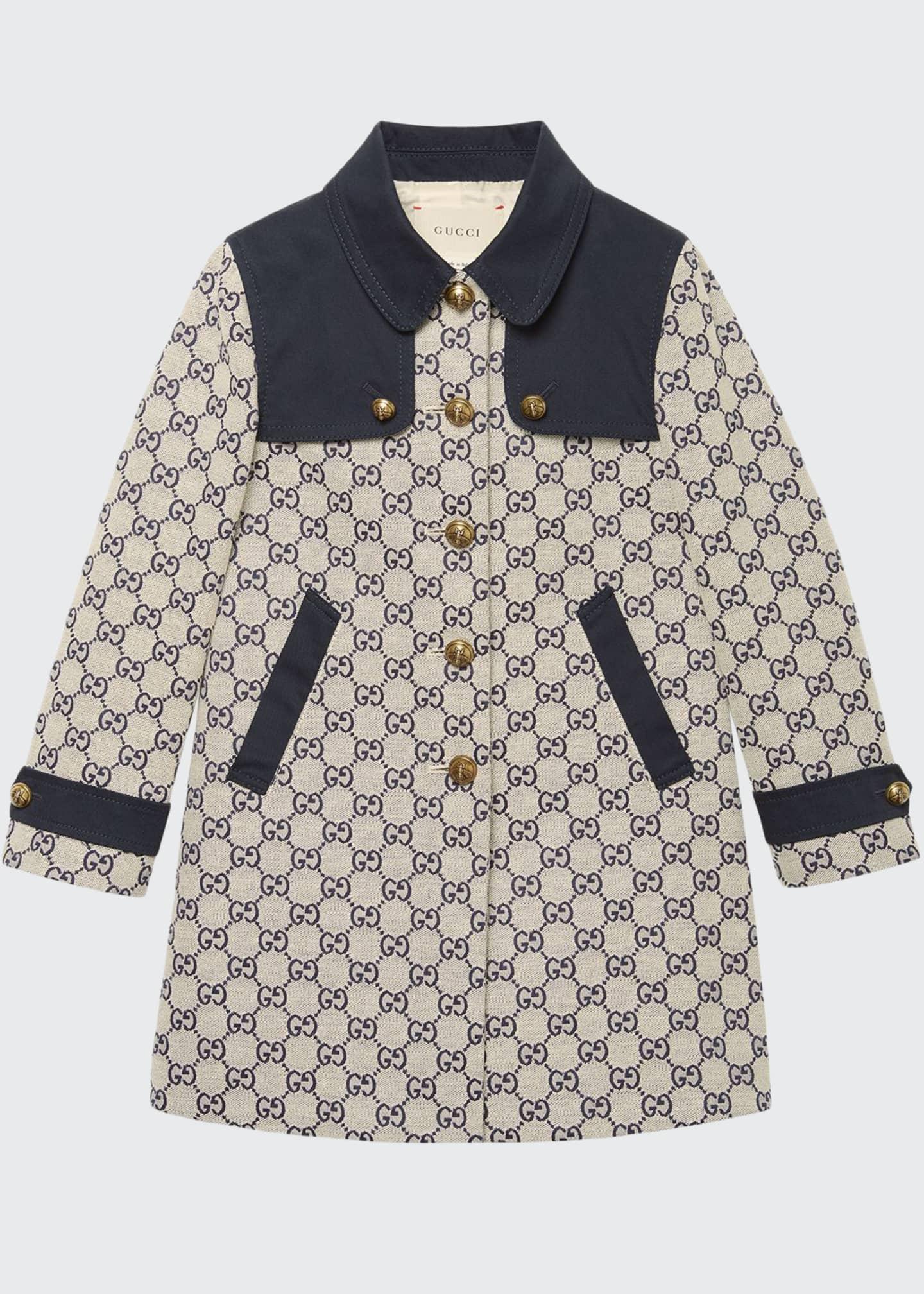 Gucci GG Jacquard Gabardine Long Coat, Size 4-12