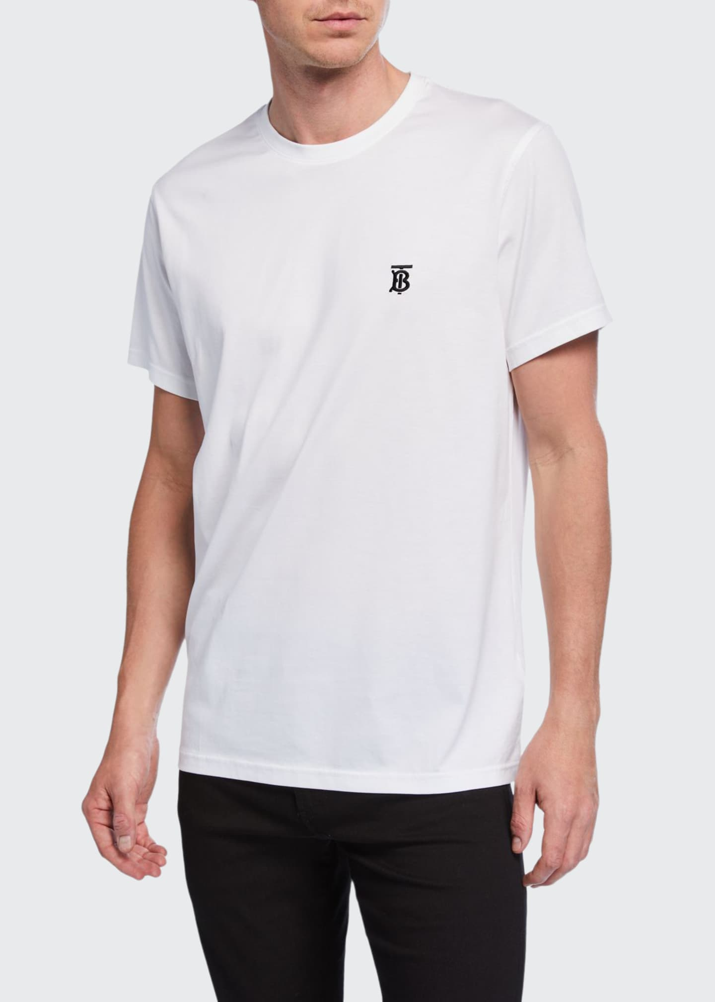 Image 1 of 2: Men's Parker Logo-Embroidered T-Shirt, White