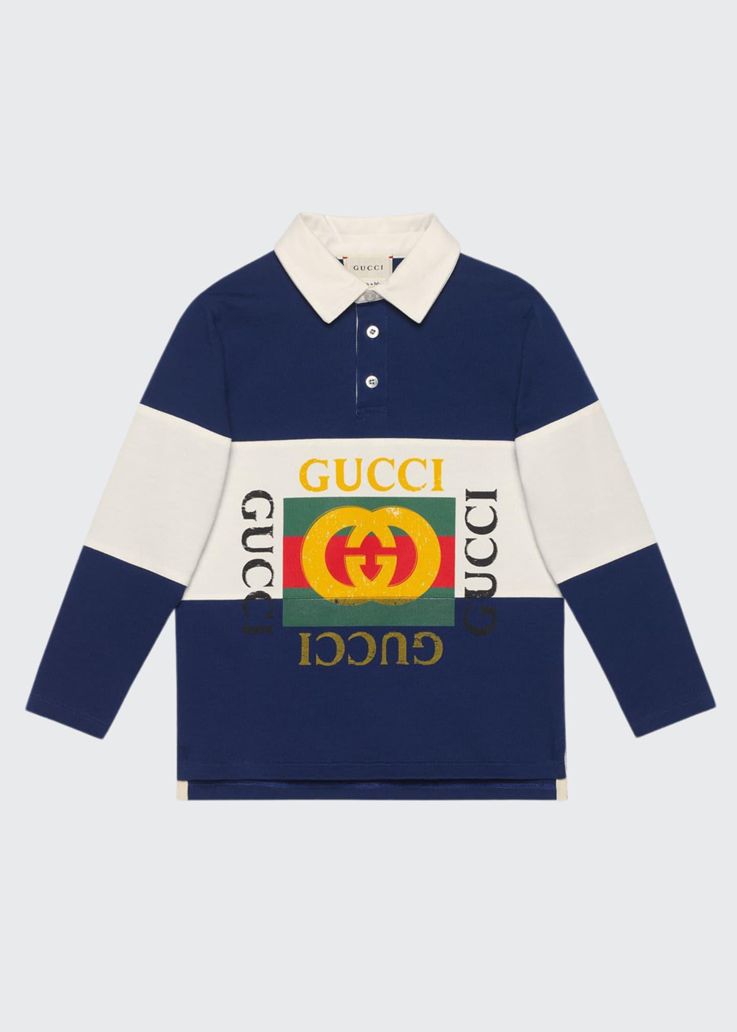 Gucci Logo Rugby Stripe Polo Shirt, Size 4-10