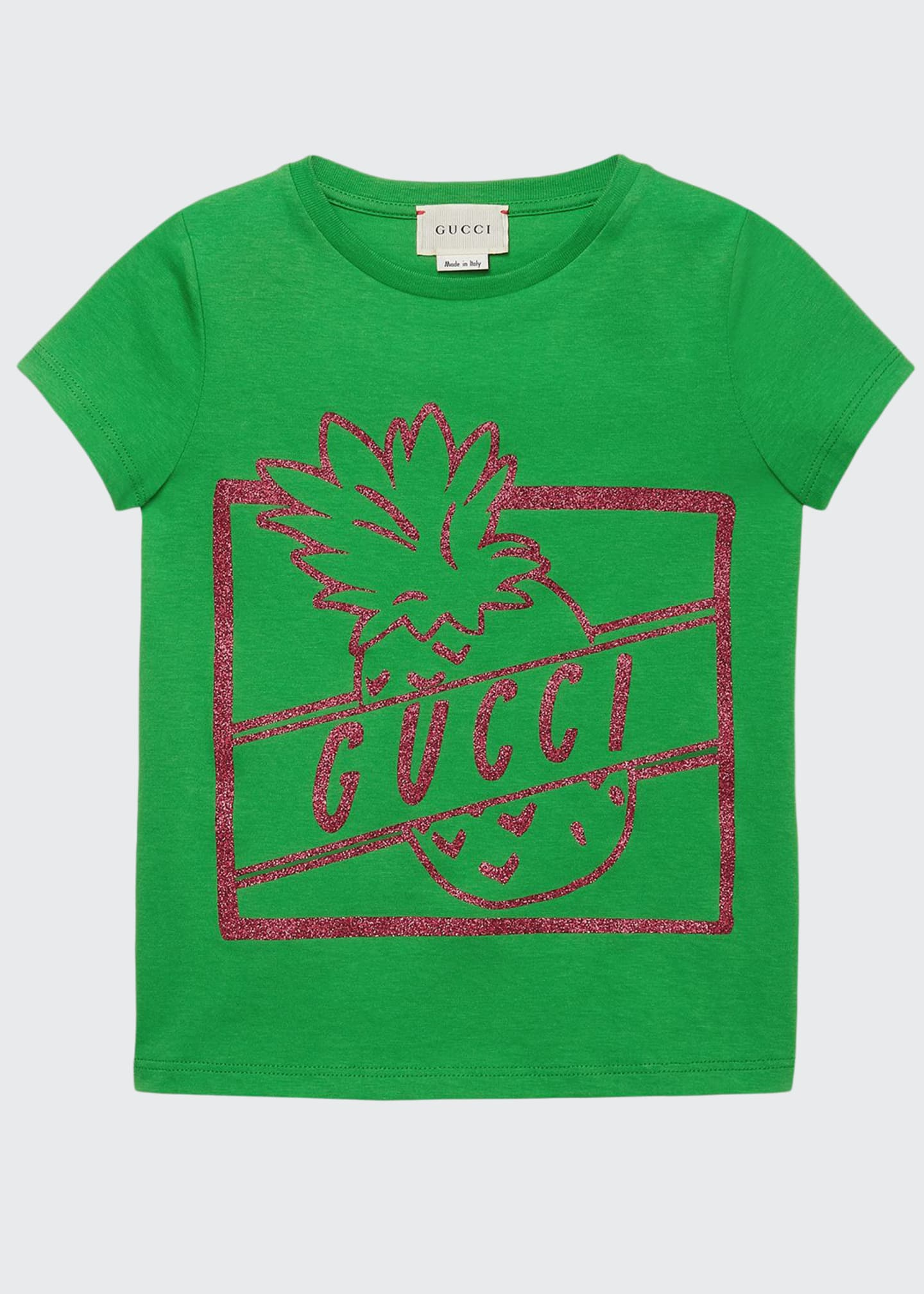 Image 1 of 2: Glittered Pineapple Logo-Print Jersey Tee, Size 4-12