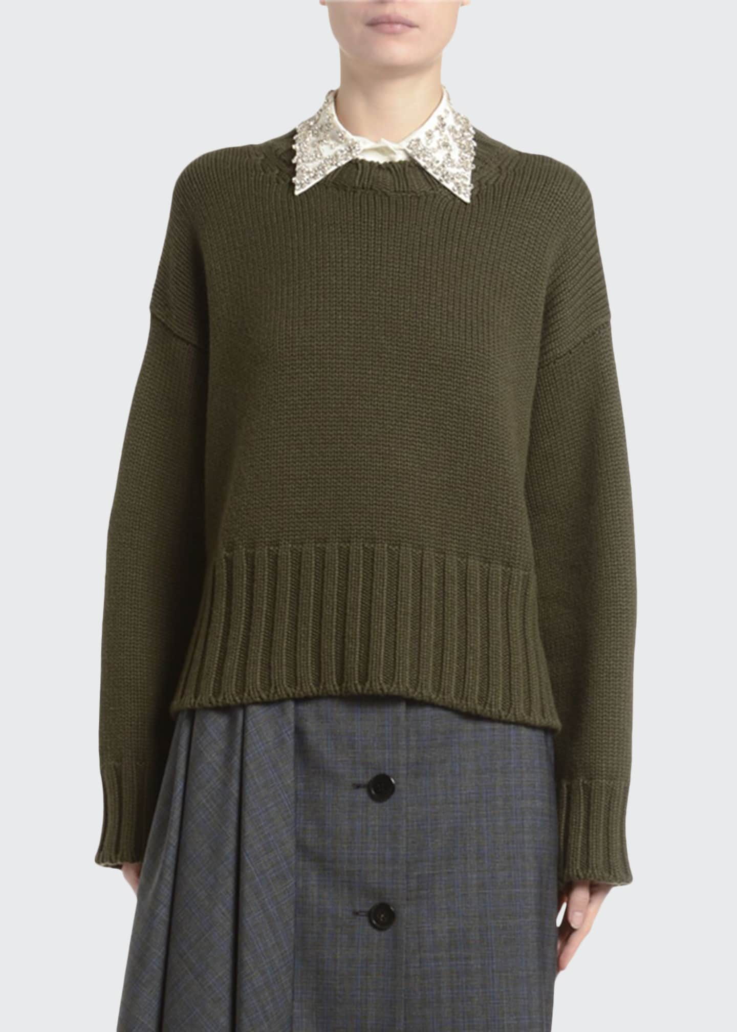 Image 1 of 2: Heavy Cashmere Crewneck Sweater