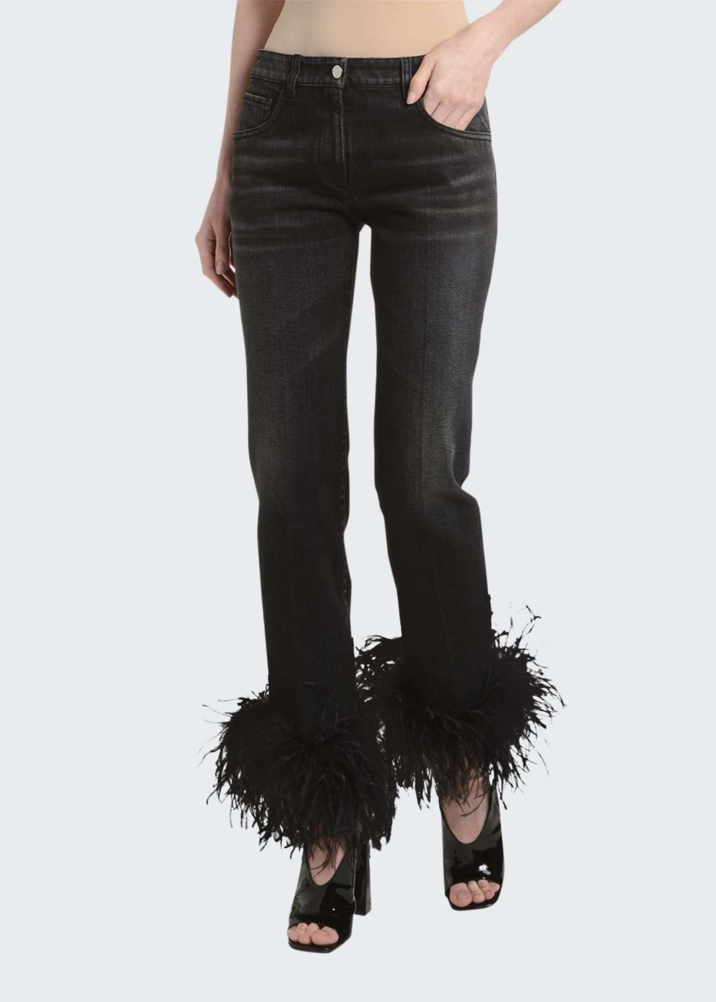 Image 1 of 3: Ostrich Feather-Cuff Straight-Leg Jeans