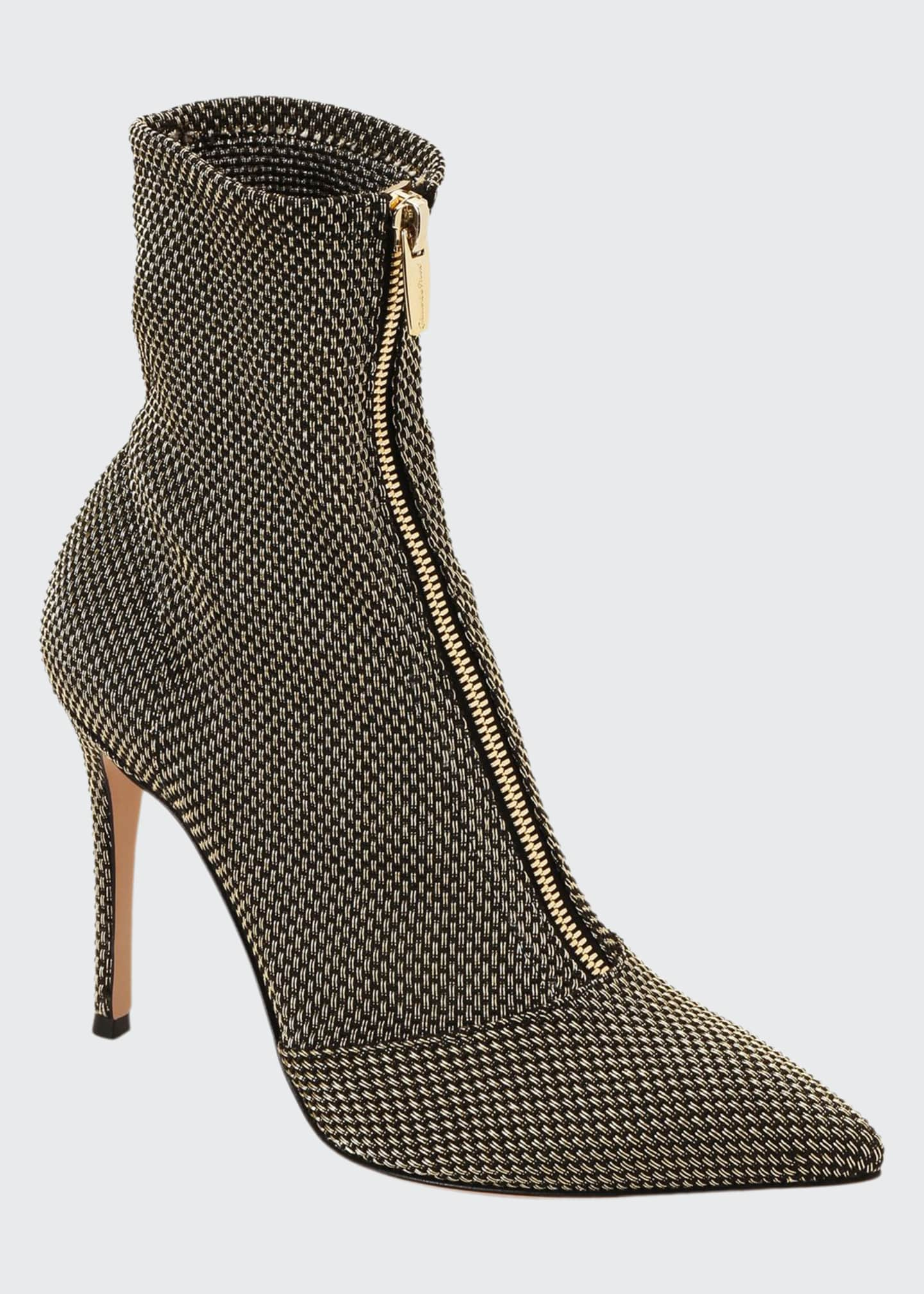 Gianvito Rossi Woven Metallic Zip Booties