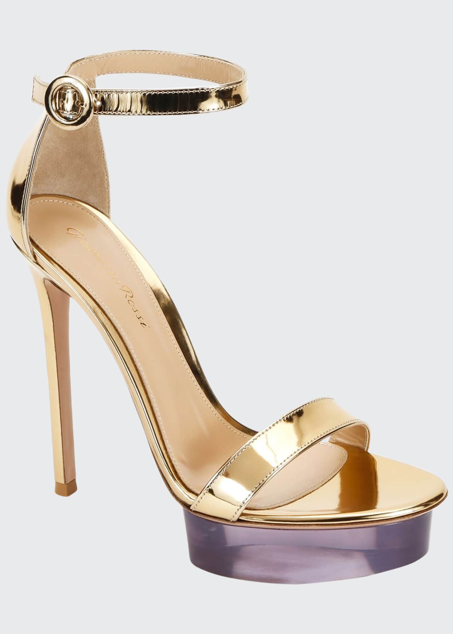 Image 1 of 3: Metallic Metal Rubber Platform Sandals