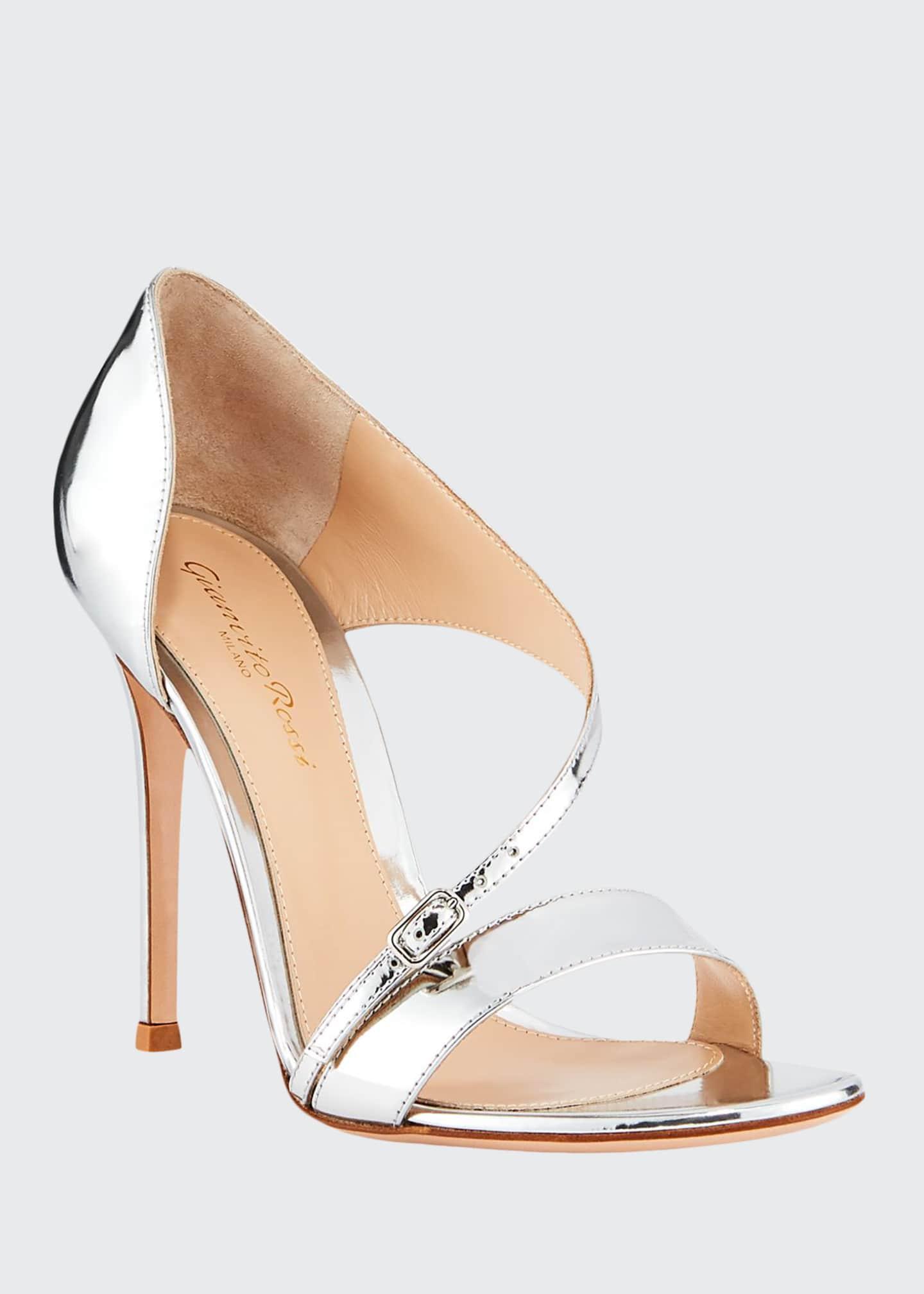 Gianvito Rossi Metallic Cross-Strap Sandals, Silver