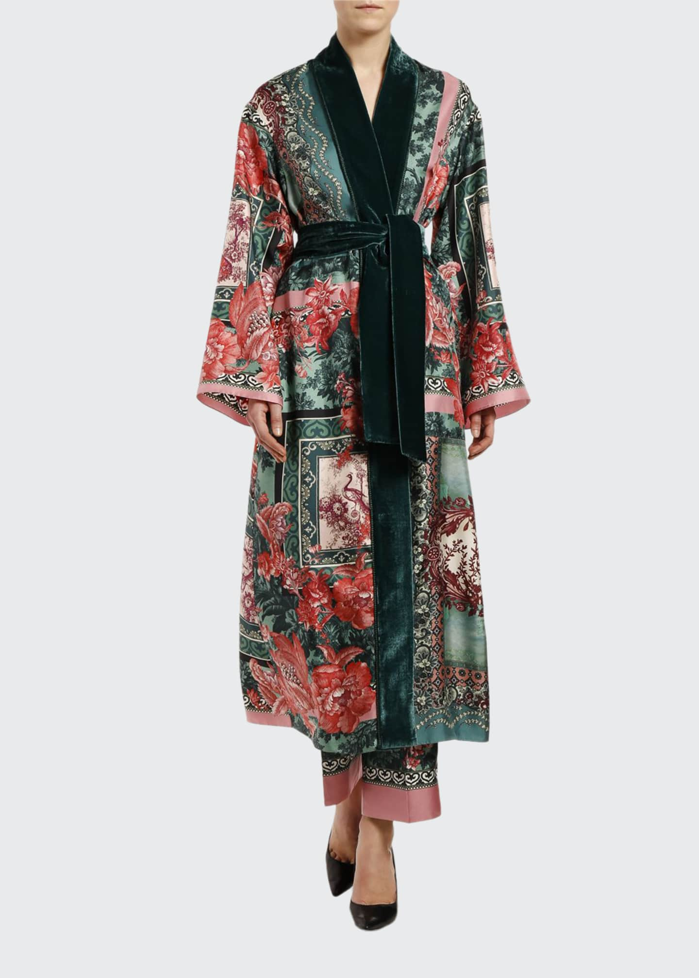 F.R.S For Restless Sleepers Rose-Print Silk Scarf Robe