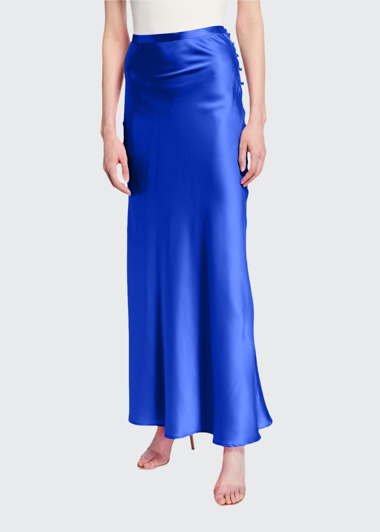 BERNADETTE Florence Silk Satin Bias-Cut Ankle-Length Skirt