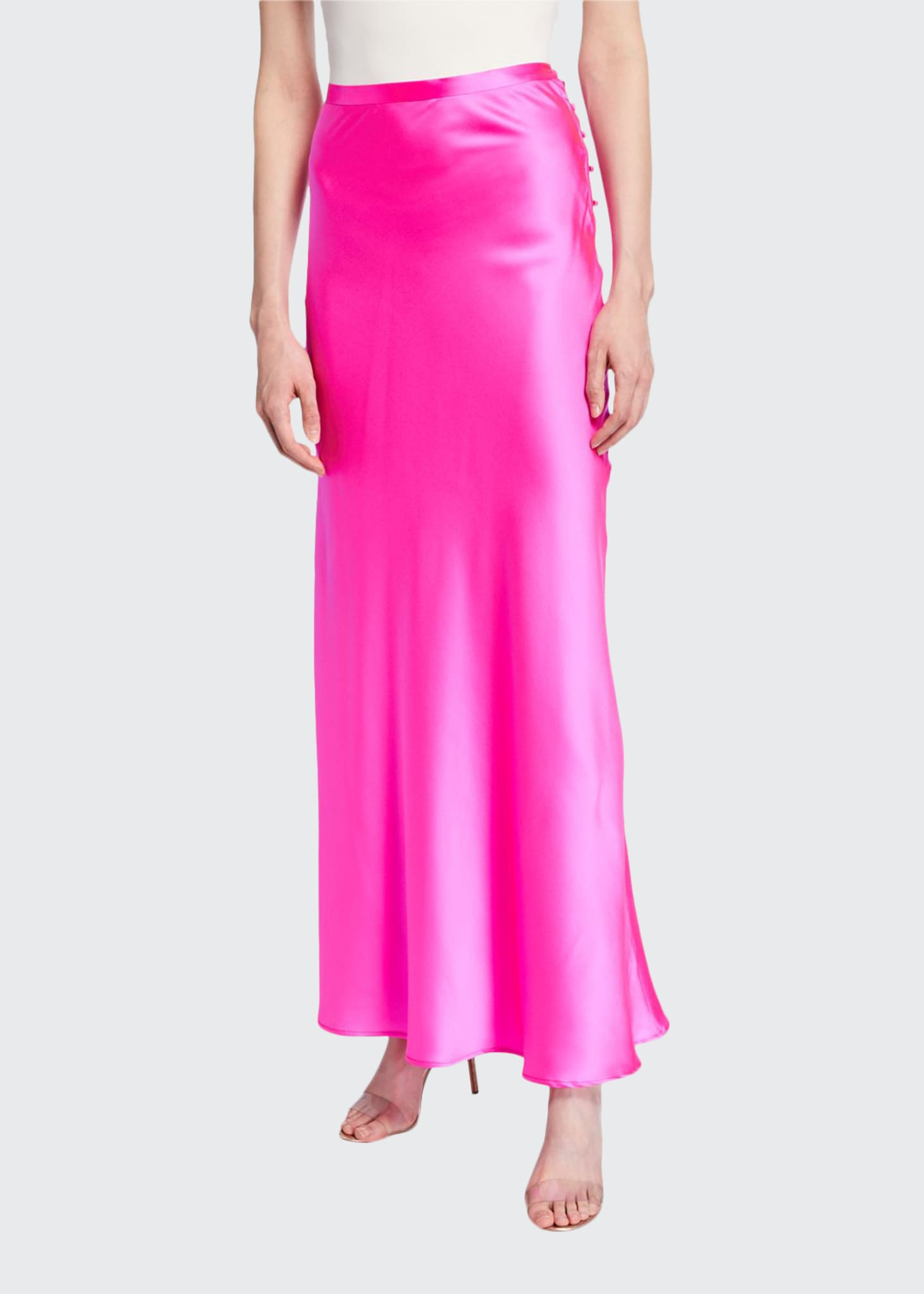 Florence Silk Satin Bias-Cut Ankle-Length Skirt, Pink