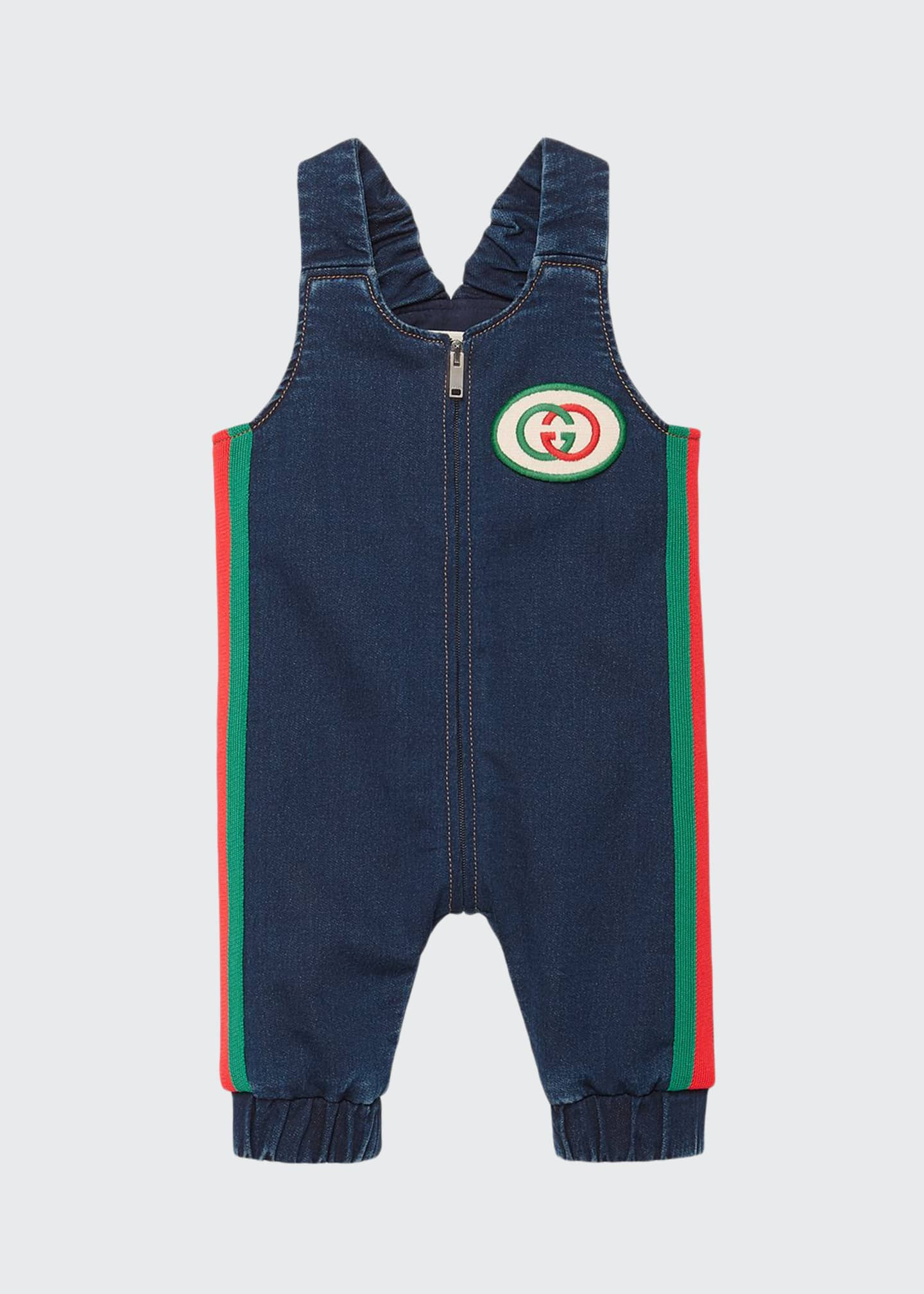 Gucci Denim Overalls w/ Web Trim & Logo