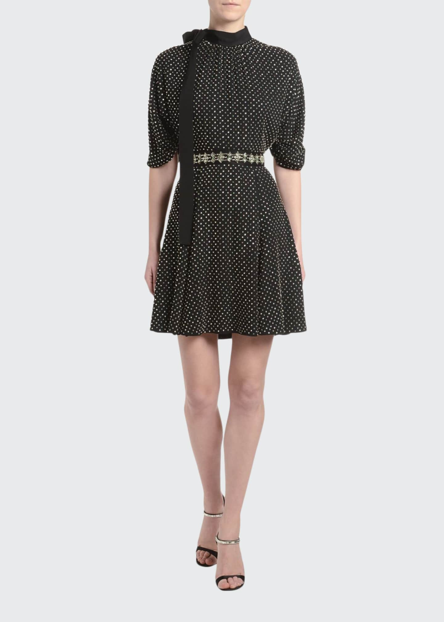 Image 1 of 2: Jewel-Neck Blouson-Sleeve Dress