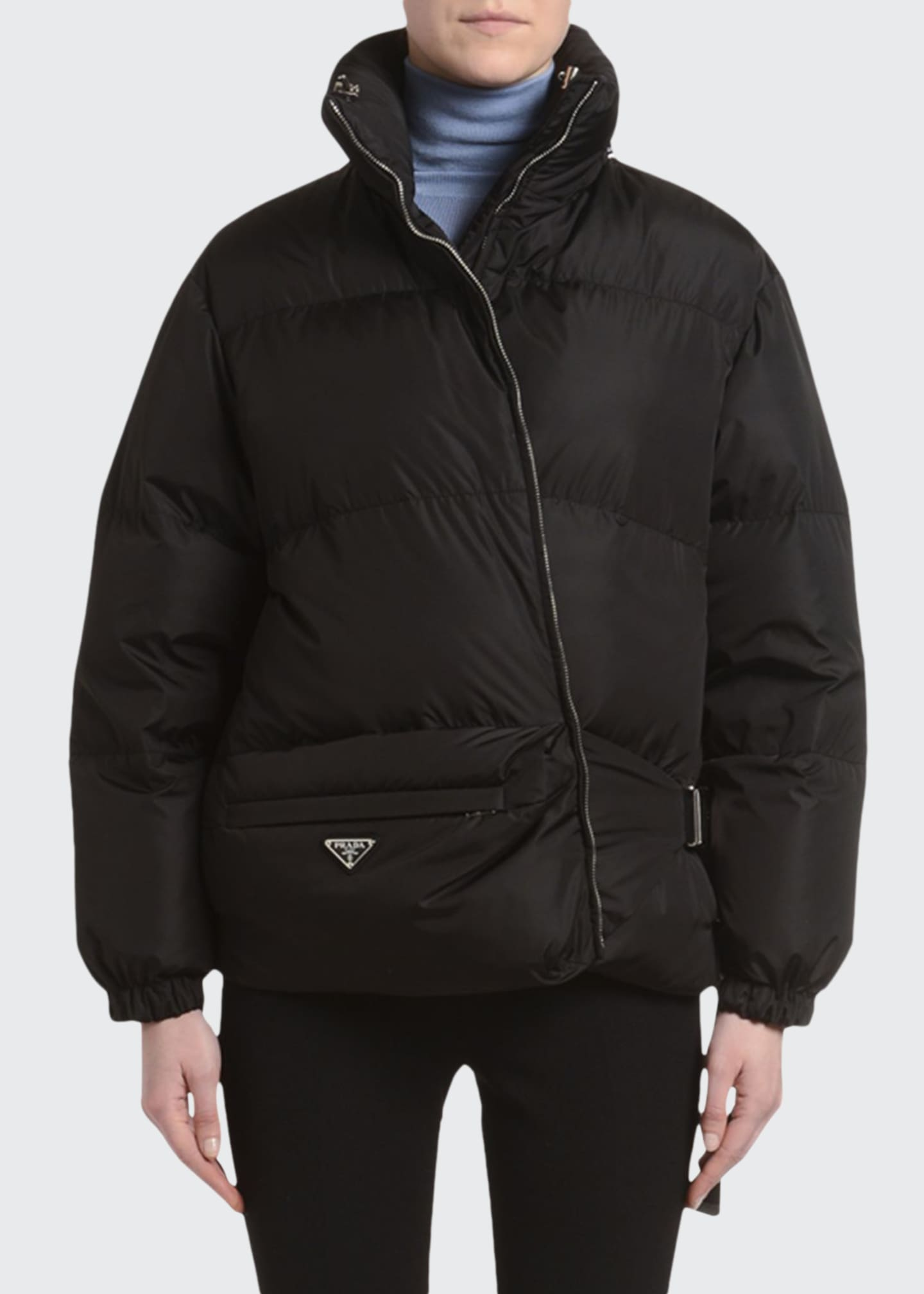 Prada Belt-Bag Nylon Puffer Coat