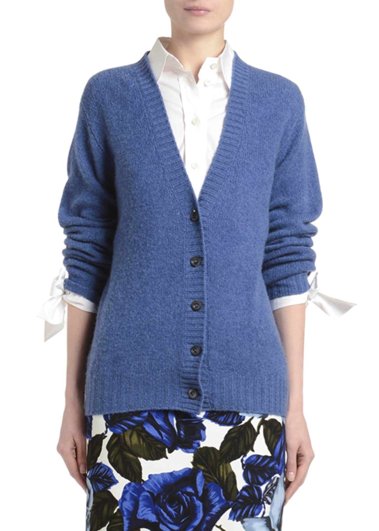Prada Cashmere V-Neck Button-Front Cardigan