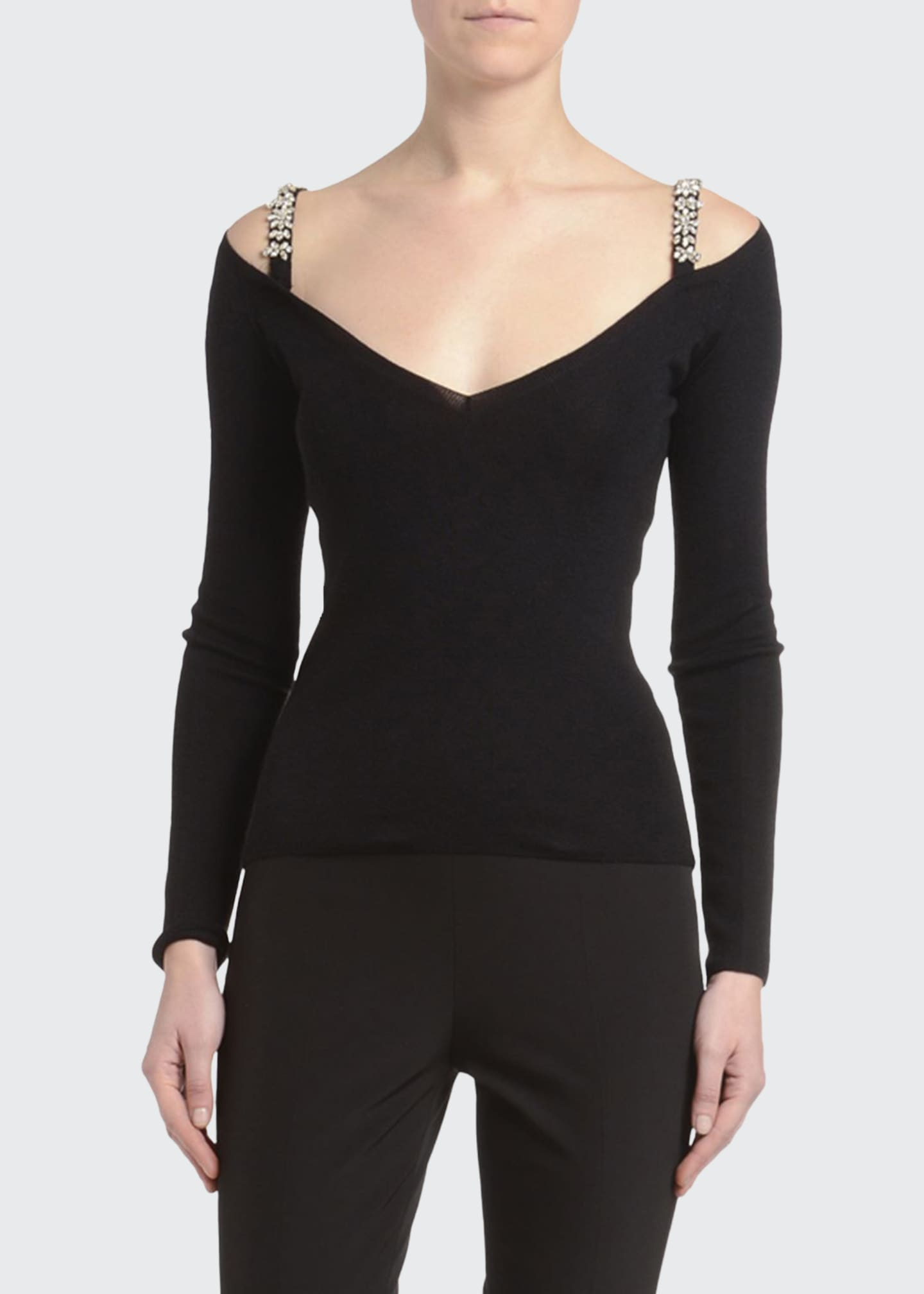 Image 1 of 2: Cashmere-Silk Jewel-Strapped Cold Shoulder Sweater